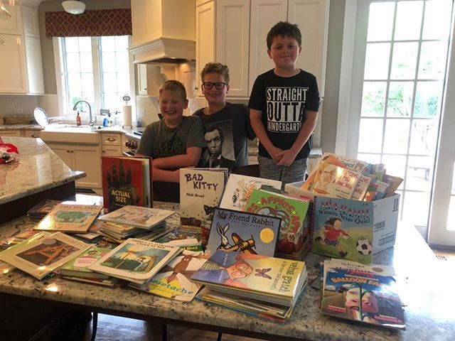 Dylan Hood and Jack Gauri collected all these books from their teachers at Millburn Elementary School for WOW!Thank you Millburn teachers!