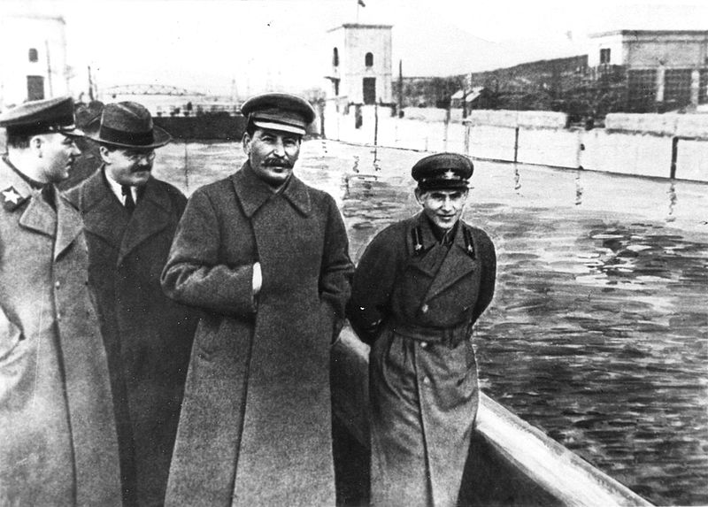 Image from left to right of important military figure Voroshilov, foreign minister Molotov, Stalin and Nikolai Yezhov by the banks of the Moscow-Volga Canal. Yezhov was at one point head of the NKVD (from 1936-1938).