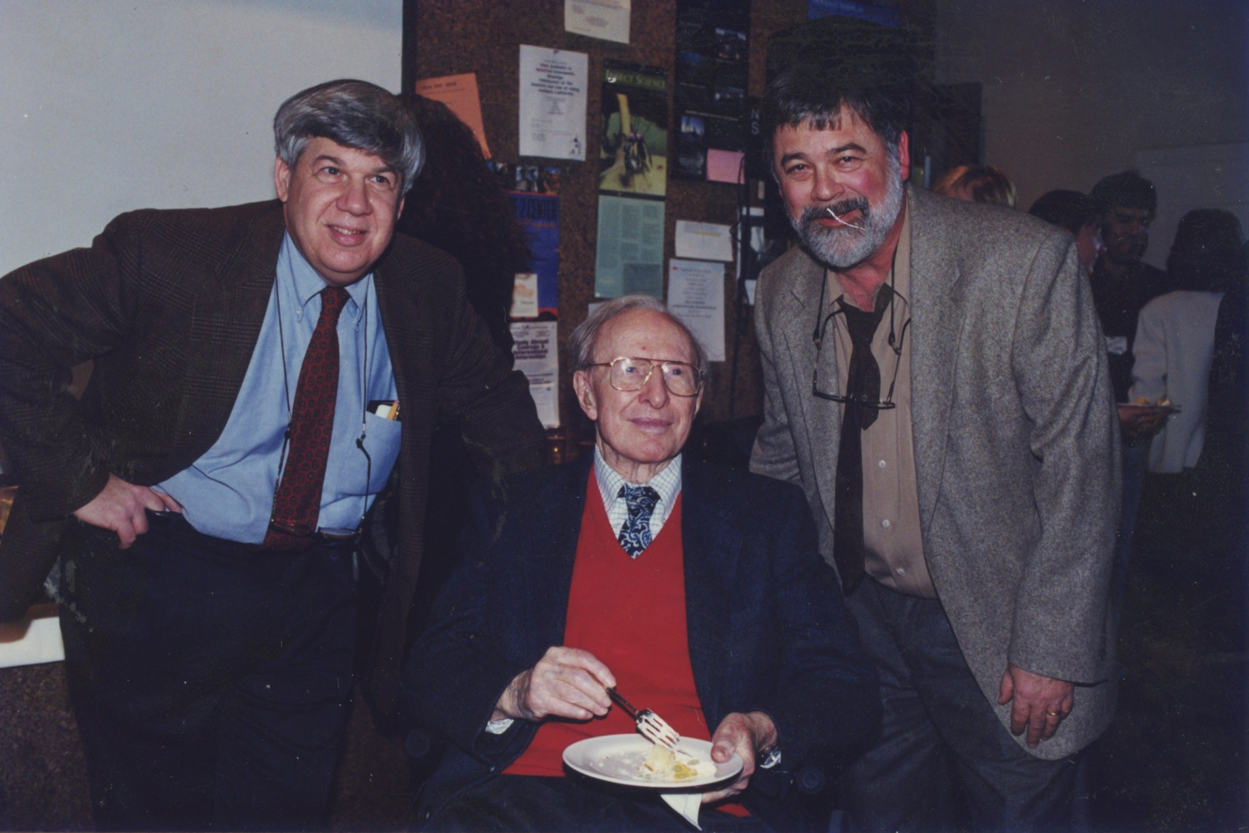 Left to right Stephen Jay Gould, Norman Newell, and Niles Eldredge at Norman's 90th birthday party in his former office/lab in 1999 (image courtesy of Gillian Newell).