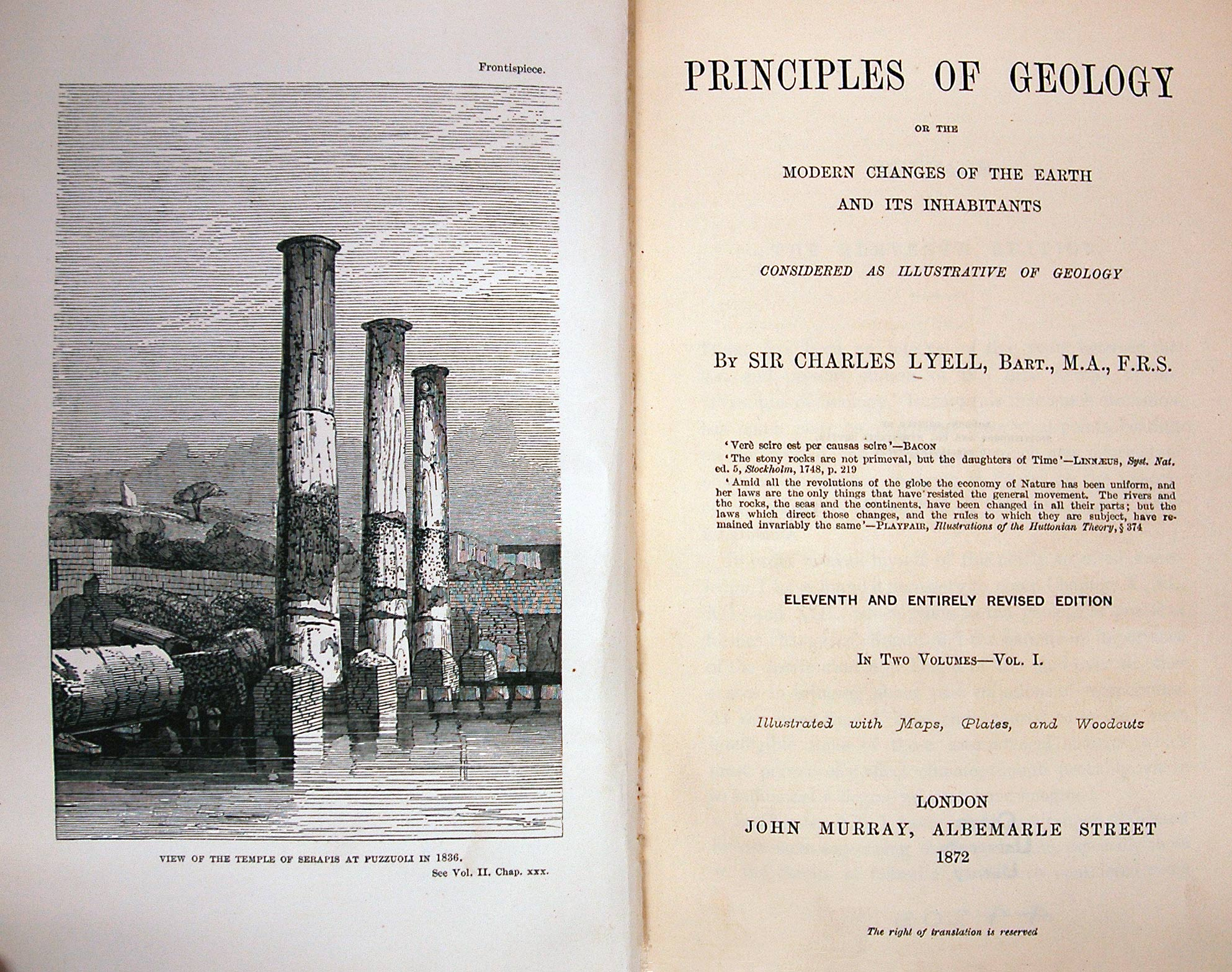 "Frontispiece of the 1872 edition of Lyell's ""Principles of Geology"", from the University of Otago Library, New Zealand, https://www.otago.ac.nz/library/exhibitions/darwin/cabinet4.html ."