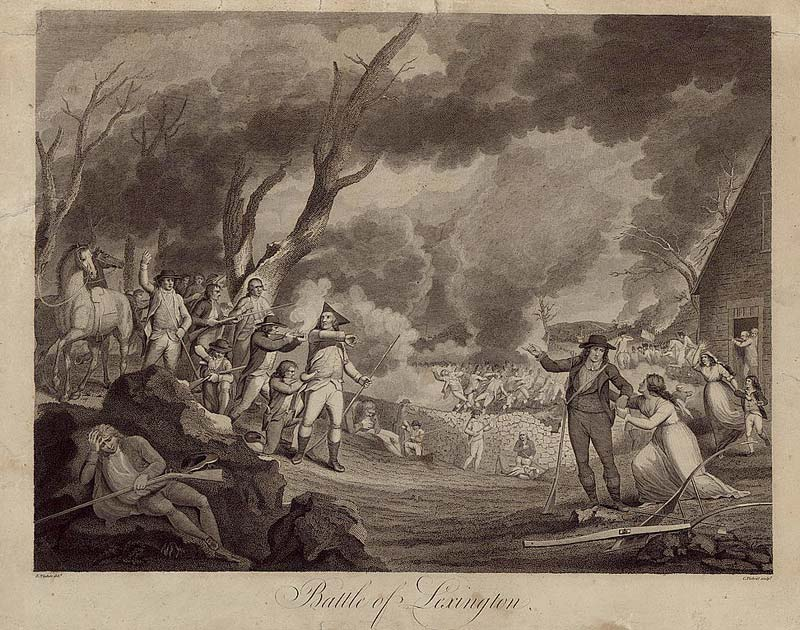 "The Battle of Lexington, by Cornelius Tiebout, from the Library of Congress. On this day was fired the so called ""shot heard round the world"", conventionally treated as the start of the American Revolution and the War of Independence."
