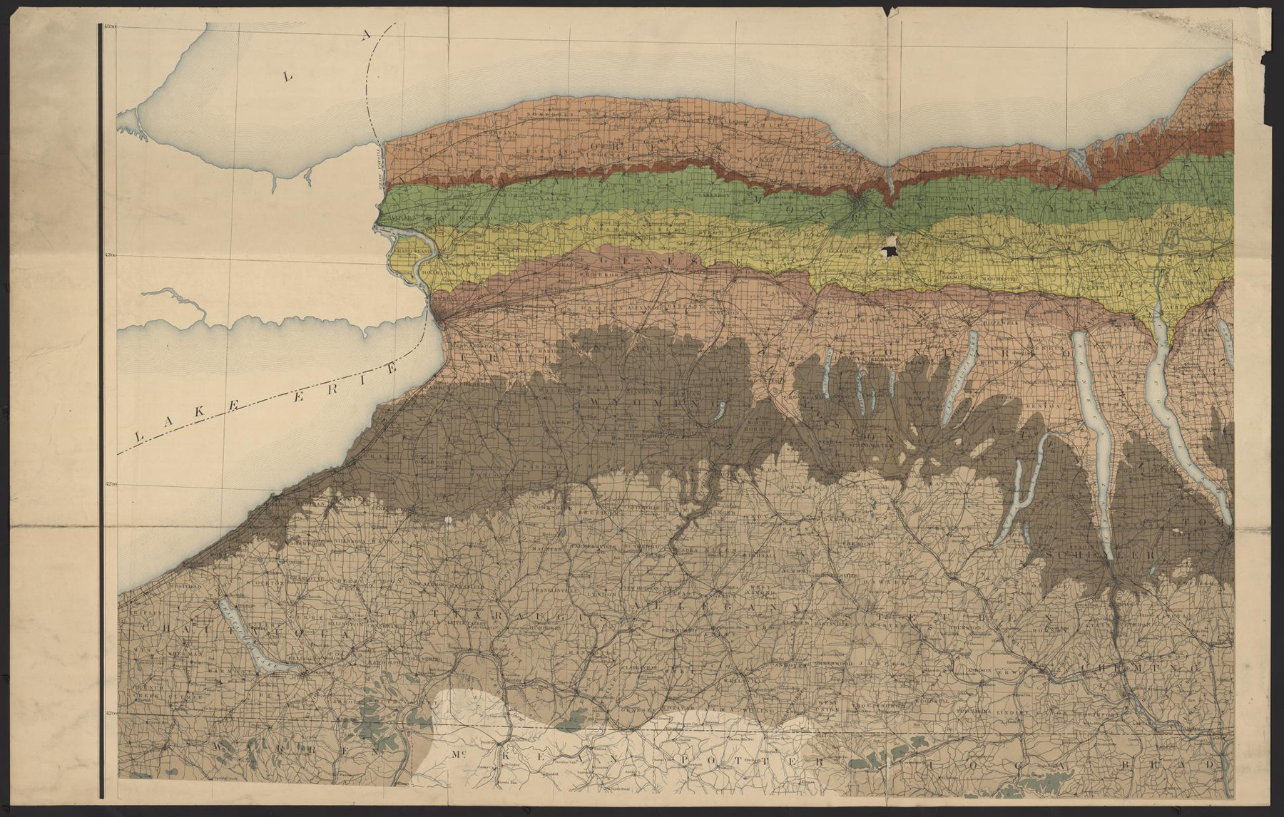 Preliminary geologic map of New York, exhibiting the structure of the state so far as known / Geological Survey of the State of New York ; prepared under the direction of James Hall by W.J. McGee. http://quod.lib.umich.edu/c/clark1ic/x-009356600/39015091903891. University of Michigan Library Digital Collections. Accessed: February 28, 2019.