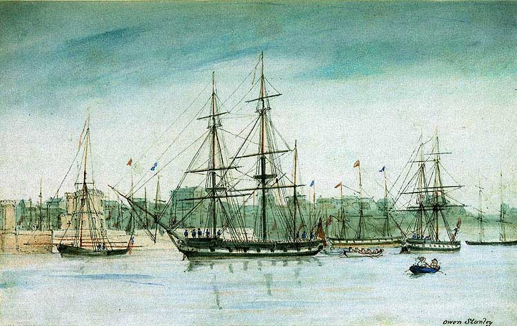 HMS Beagle in 1837, watercolor by Owen Stanley, Public Domain,  https://commons.wikimedia.org/w/index.php?curid=393600