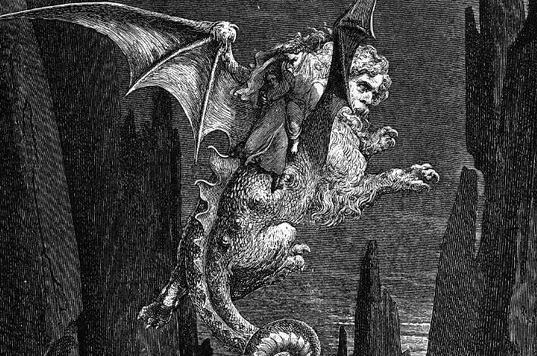 Wood engraving of Geryon, the flying monster that took Dante and Virgil to the 8th circle of hell, by Gustav Duré, from:  https://historylists.org/art/9-circles-of-hell-dantes-inferno.html