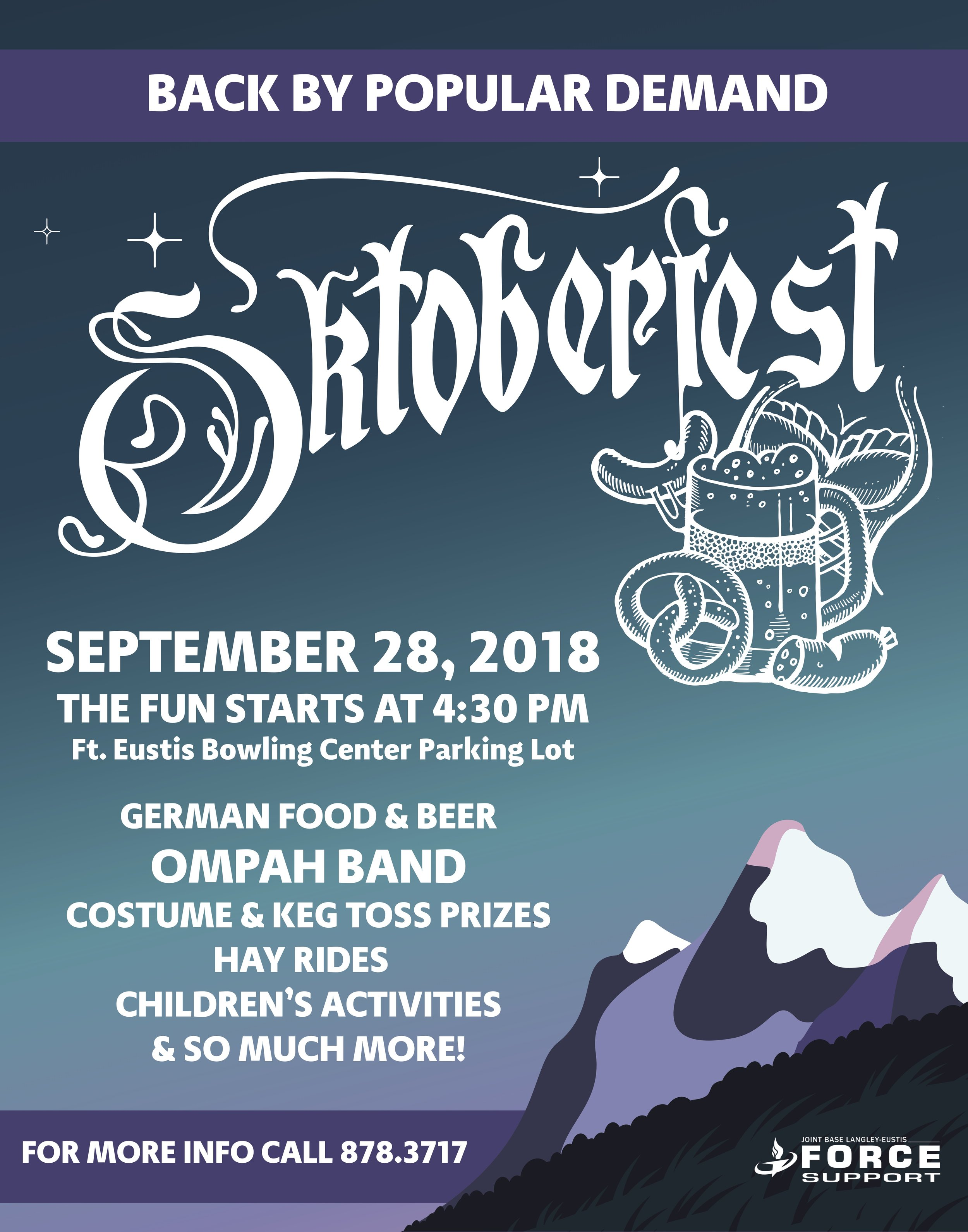 Octoberfest 2018! - Celebrate with traditional German food, beer, music and games! Be sure to bring your kids, there will be activities for them to do.