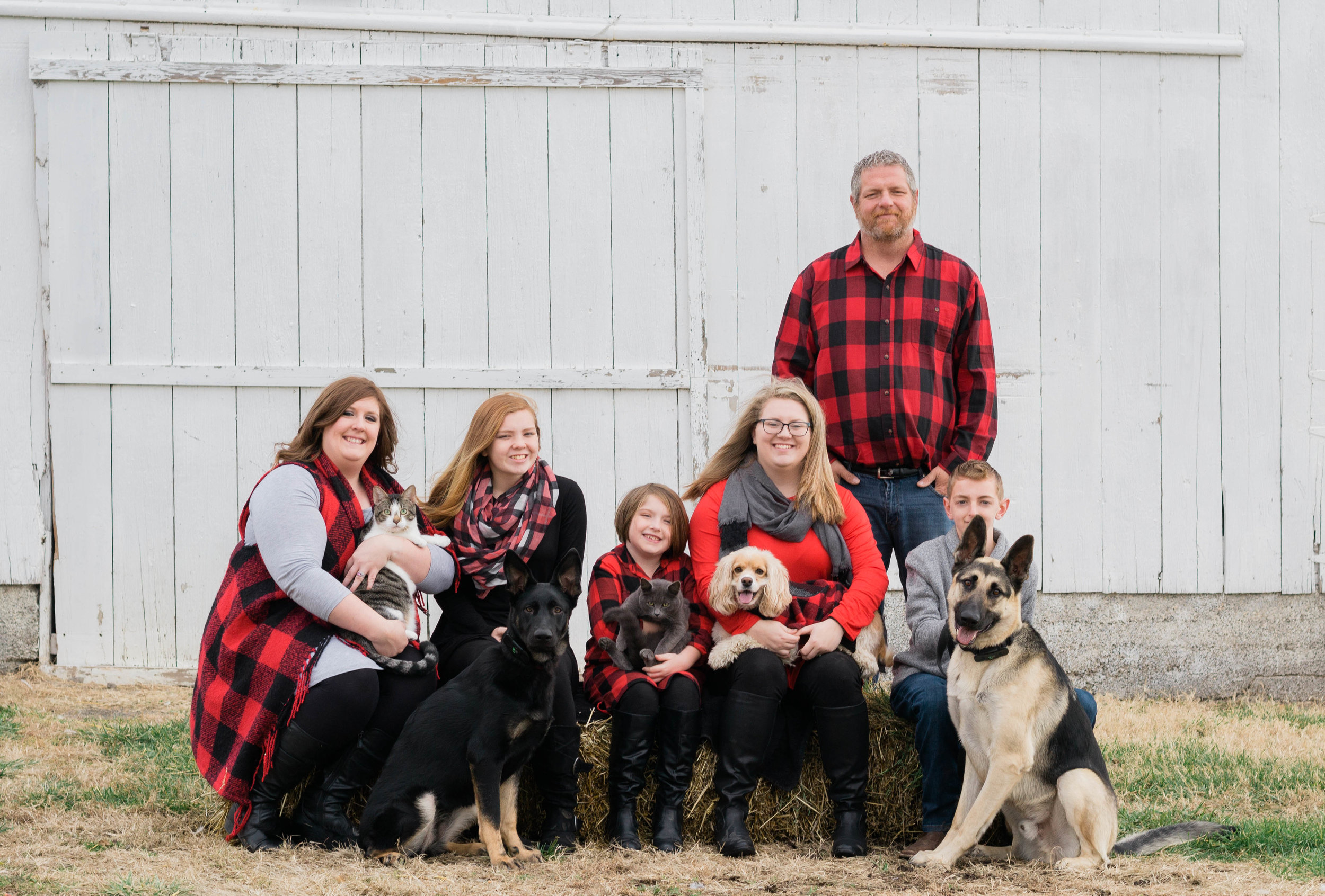 """craddock family - Courtney was so awesome to work with! I wanted pictures at our new house in front of our barn and she made it happen! She traveled all the way to our home on a chilly morning just to get the perfect shots! The pictures turned out great.... even the one with our animal herd in them!! Thank you so much Courtney for the pictures!!!"""""""