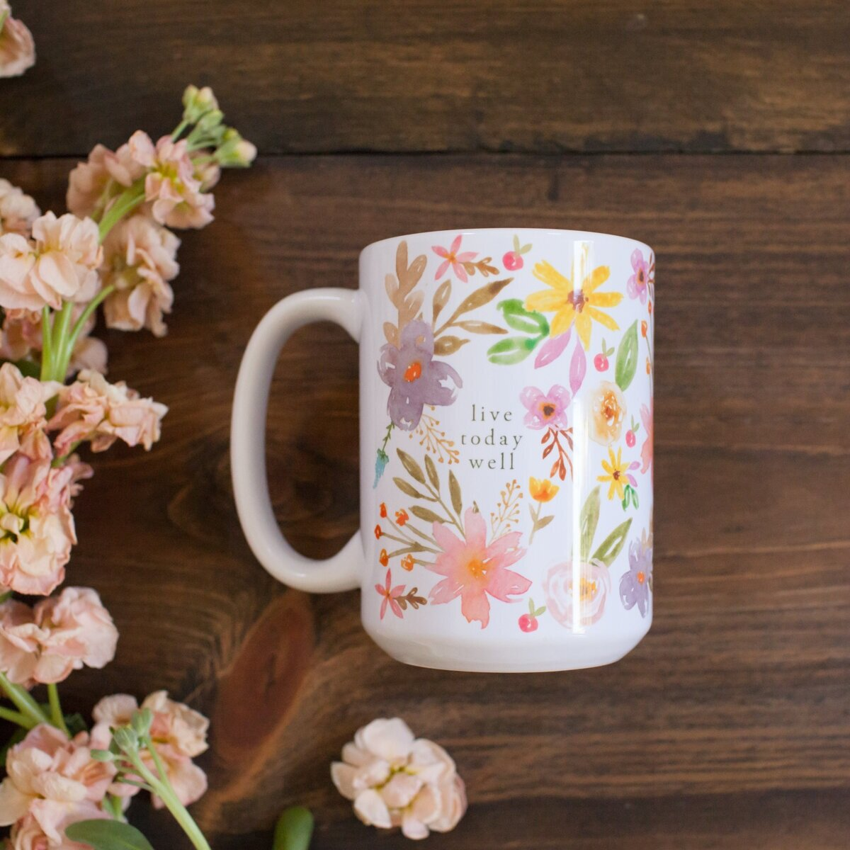 """Goodness, truth and beauty… As you chat with friends over a steaming hot pot of coffee or tea, this """" Live Today Well Mug """" reminds you to live each moment well."""