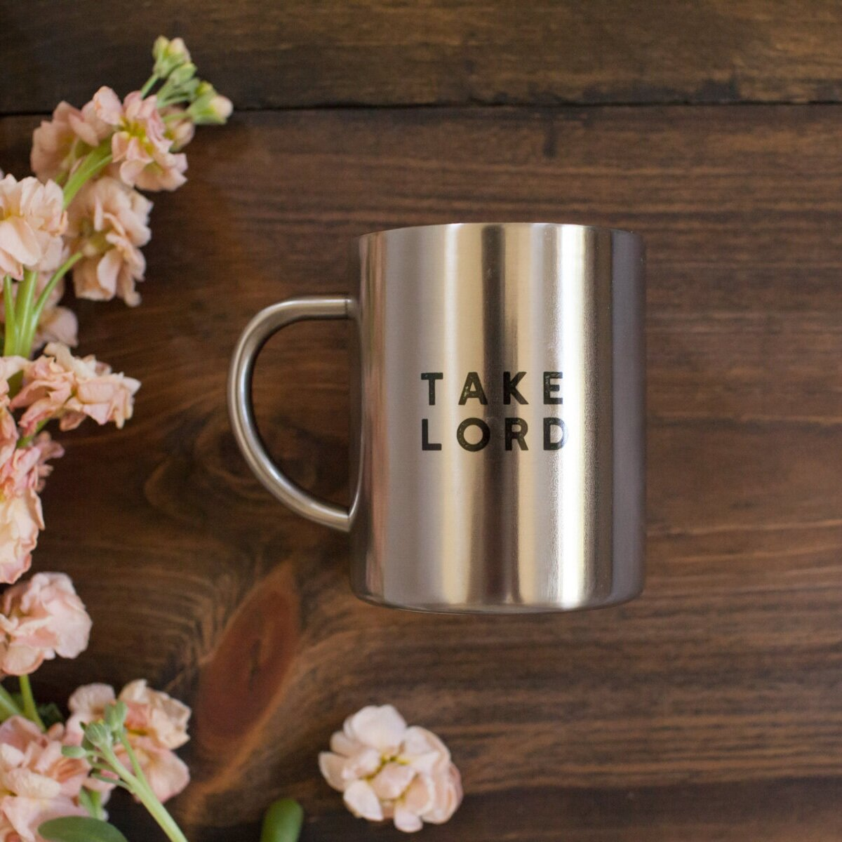 """Drawn from the opening of the Suscipe prayer, our new """" Take Lord Mug """" inspires you to offer the joys and hardships of this moment to Him."""