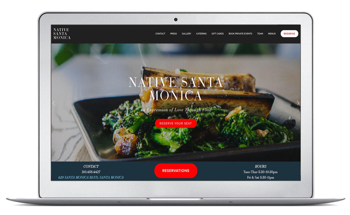 Native Santa Monica Website Homepage