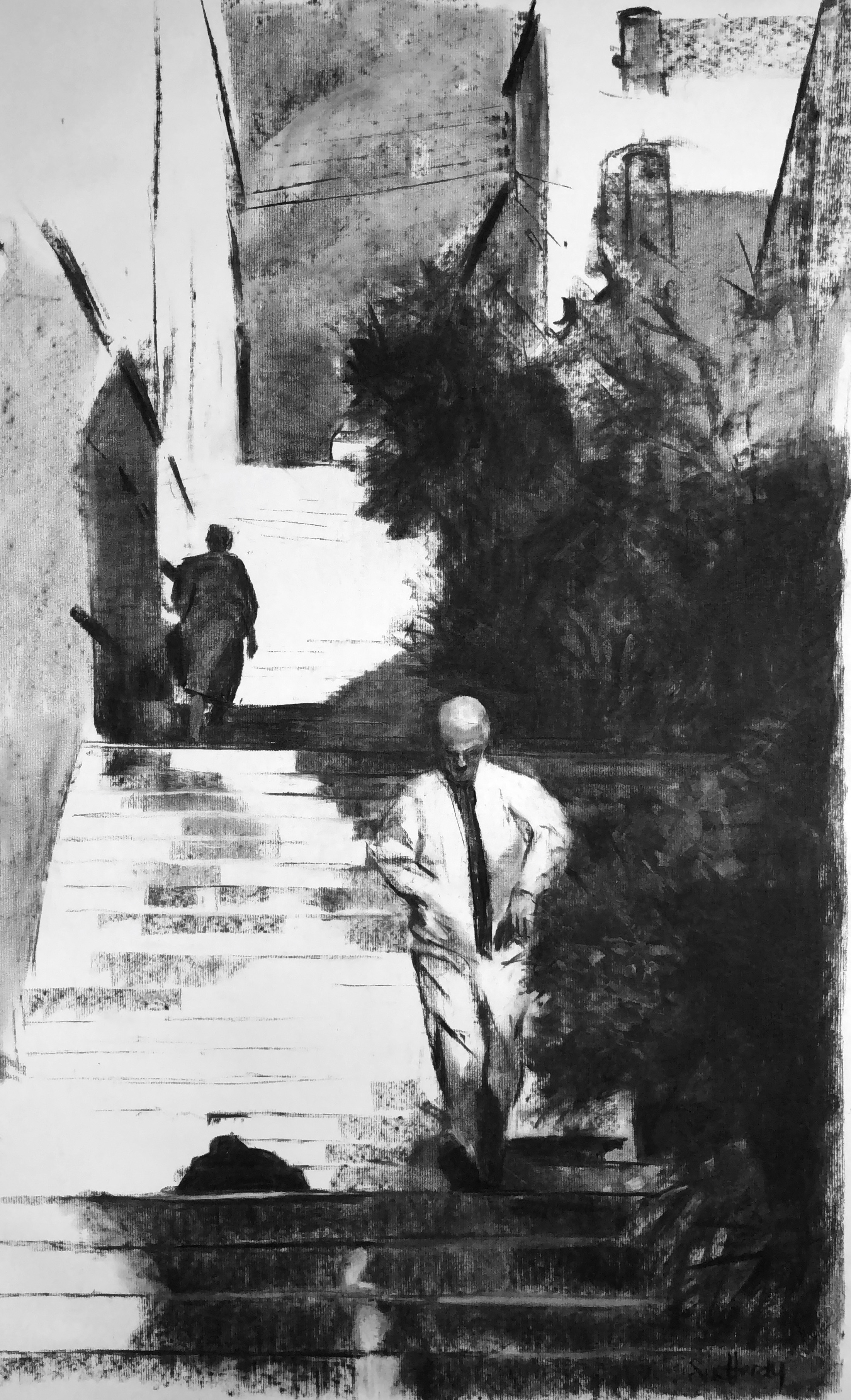 Steps to Port-Vendres     Charcoal   85 x 55mcm