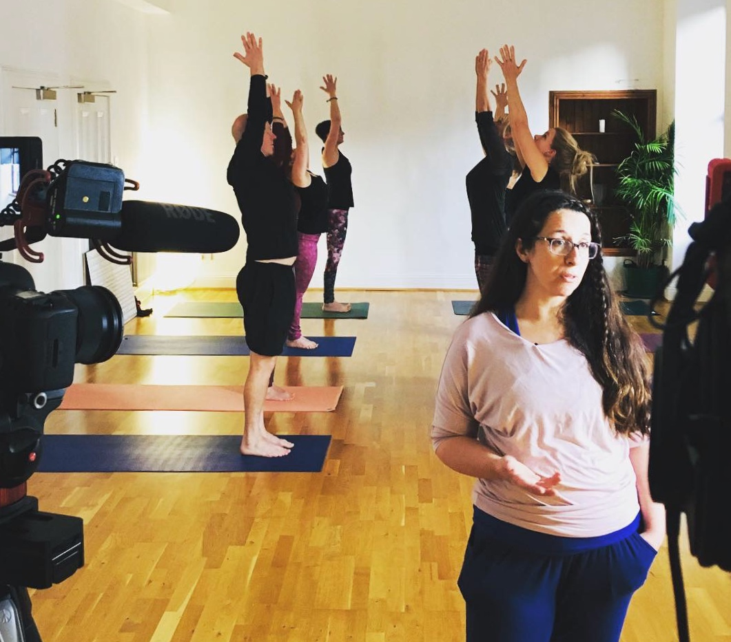 Lindsey & other Yoga teachers filming for a SAMH campaign, on location at Merchant City Yoga, Glasgow.  Dec 2018