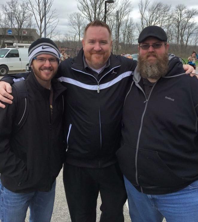Brian Howeverton (center), Kyle Bissantz (left), John Speas (right) at WGI World Championships 2015