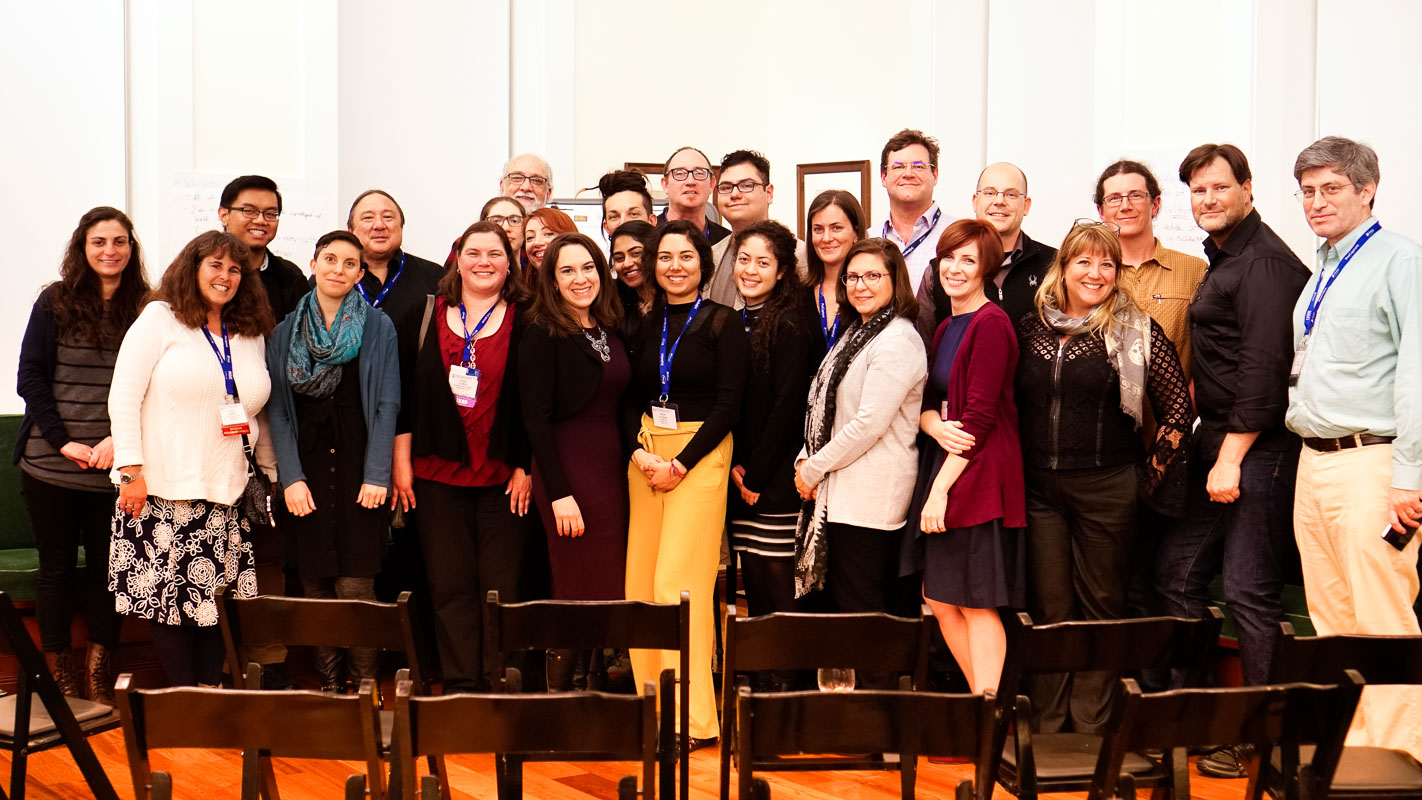 """Presenters and contributors of the """"Science Through Narrative: Engaging Broad Audiences"""" symposium, pictured here at a reception hosted at the Walt Disney Family Museum in San Francisco, CA."""