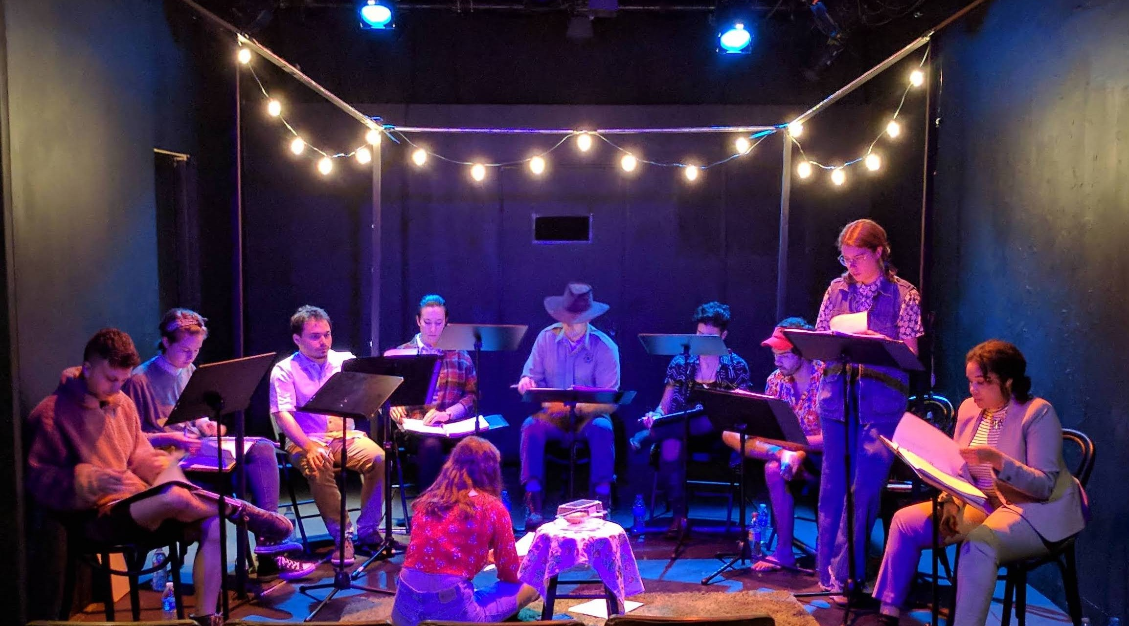 Brandon Blum, Kat Devoe-Peterson, Luke Medina, Julia Finch, Conor Murphy, Victoria Ortiz, Tyler Bremer, Meg Cashel, Taylor Bennett, and Rosie Glen-Lambert in tech for The Last Croissant staged reading.