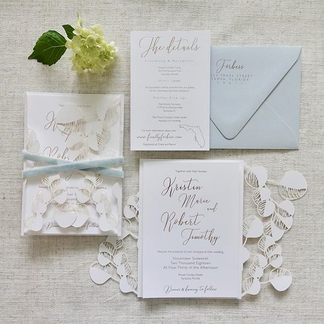 Finally sharing this full suite for our November #powelcrosleyestate bride since they have hit the mail! 📬 The custom designed laser cut eucalyptus folder was a labor of love but so worth to bring this suite together! . . . . #doylepaperco #tampadesigner #handmadepaper #invitationinspo  #handmadeinvitations #letterpress  #marrymetampabay #weddingideas #weddings #weddingdetails  #weddinggoods #weddinginspo  #ohsobeautifulpaper #dailydoseofpaper  #theknot #weddingwire #papergoodsaddict #paperaddict #instawedding #IGers_Tampa #Florida #instagram_Florida #Tampa #TampaBay #loveFL #loveTampa #tampabaybrides #tampabayweddings