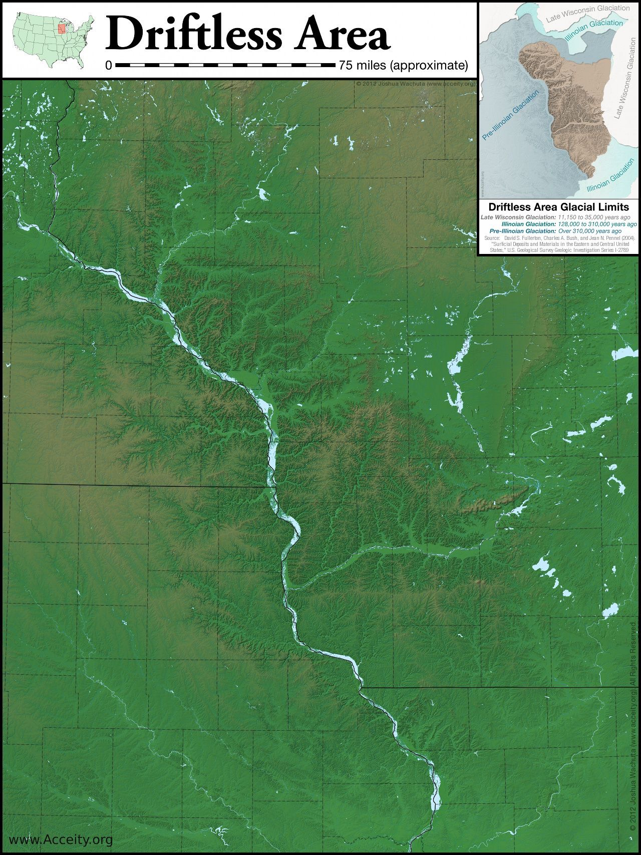 Map by Joshua Wachuta,   https://www.acceity.org/2012/06/22/mapping-the-driftless-area/