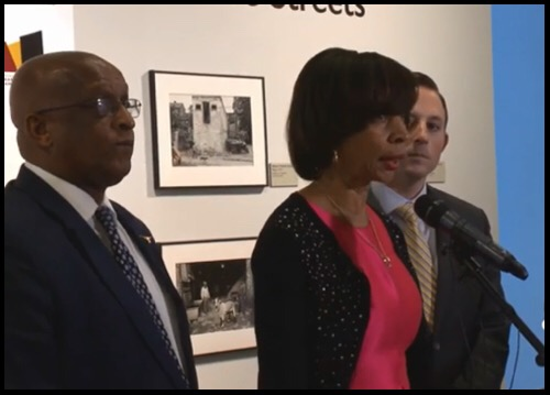 Mayor Pugh with Council President Young and Senator Ferguson announcing appointment No. 2 for commissioner.