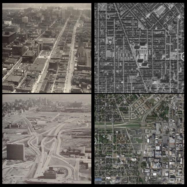 Left, 20,000 black families were removed to demolish the Mill Creek neighborhood in the heart of St. Louis. Right, thousands were removed to construct the highway to nowhere, and from 1951 to 1971, 25,000 families were displaced in the name of urban renewal, 80 to 90 percent of them black.