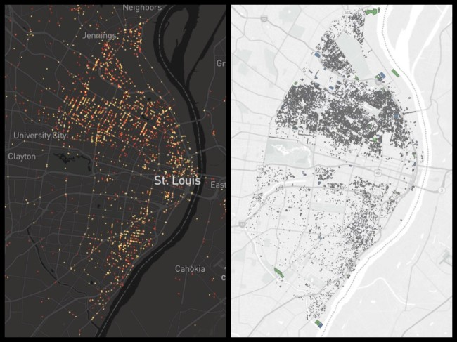 St Louis, the past five years of shootings on the left, a recent map of vacant buildings on the right.
