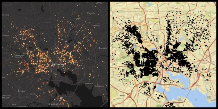 Baltimore, the past five years of shootings on the left, a recent map of vacant buildings on the right.