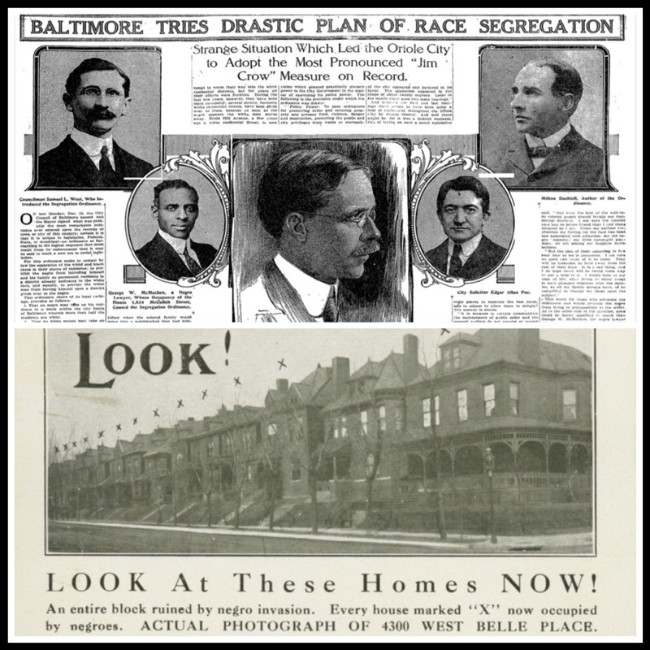 Top: news coverage of Baltimore's 1910 racial zoning law. Bottom: leaflet promoting the 1916 segregation law in St. Louis.