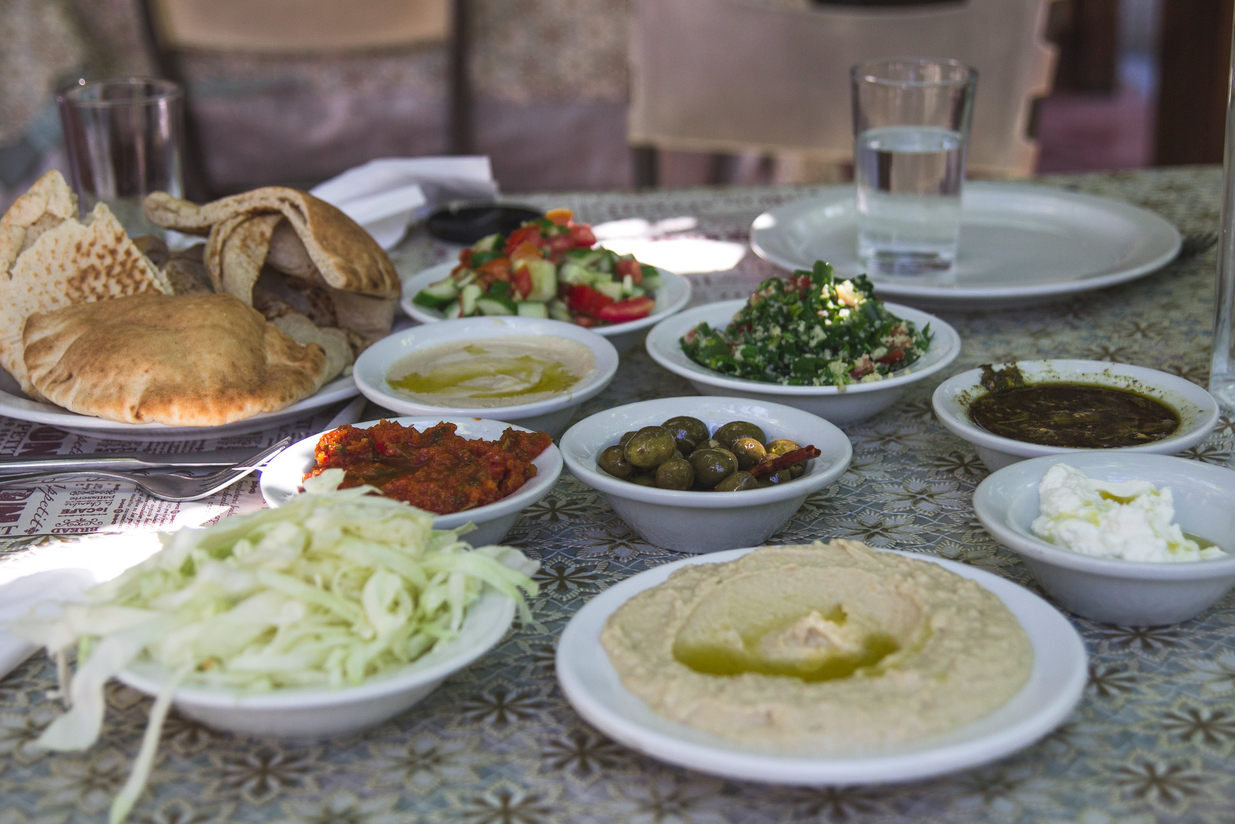 Amazing Israeli/Druze food.  The owners of the restaurant were wearing traditional clothing, and the meal was too delicious!