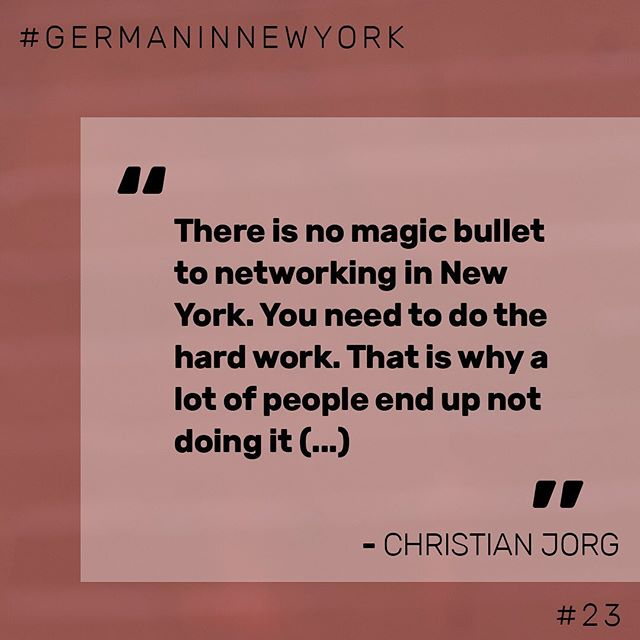 👆🏼 One advice we heard a lot during our interviews with German, Austrian and Swiss New Yorkers: Networking is one of the most important things to get ahead in New York.   🎤 Christian Jorg is a Serial Entrepreneur, Start Up Mentor and Co-Founder of the newly established Ellis Accelerator.   ⤴️ Click the link in our bio to get to the interview full of new insights!  🎧 Happy listening!   #startup #germaninnewyork #newyork #nyc #network #business #interview #podcast #accelerator