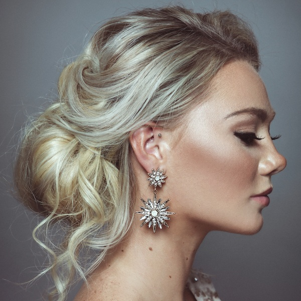 LYRA EARRINGS   Stunning starburst earrings of cut crystal and opal coloured gems, finished in a smouldering antiqued, vintage finish textured gold. The perfect earrings for the modern bride wanting to wow her guests.