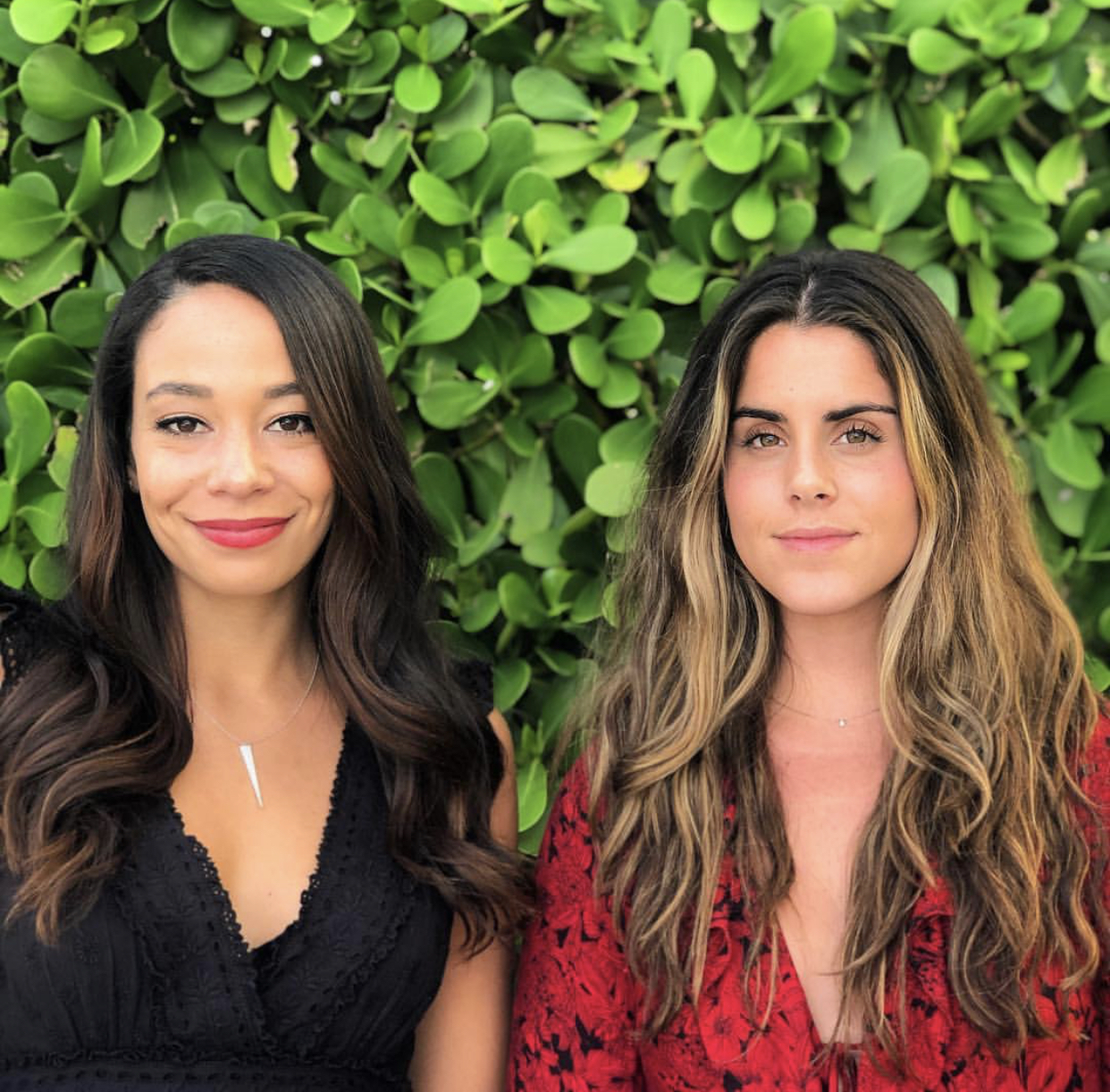 Ella Barnette (left) and Linsey Tambone (right) after a styling event at Alice and Olivia in West Palm Beach, Florida. February 2019
