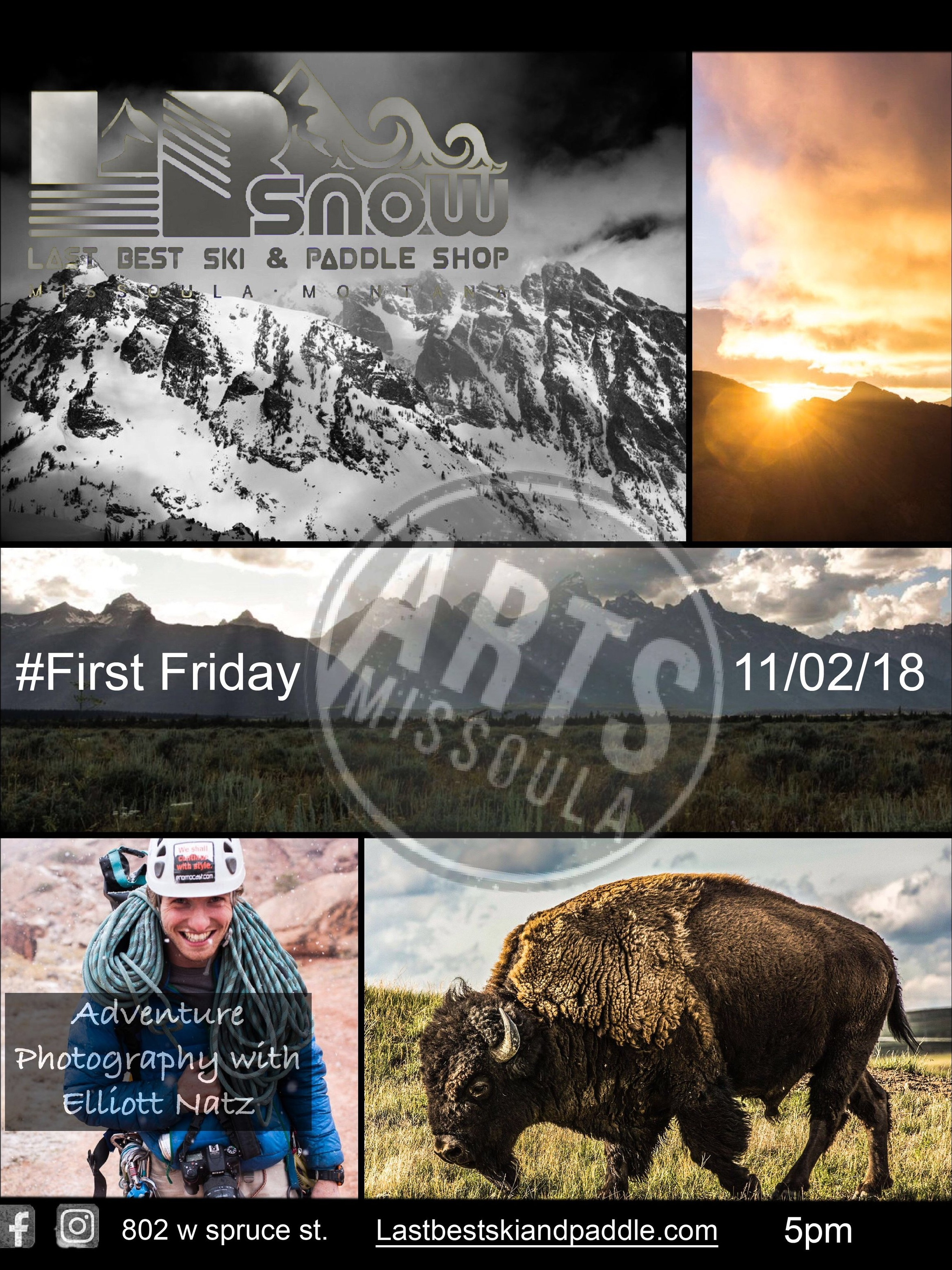 LB SNOW will be hosting Elliott Natz, an adventure photographer on Nov 2nd, 2018.  A fun evening with snacks, beverages, and visual art to celebrate local artists in Missoula.