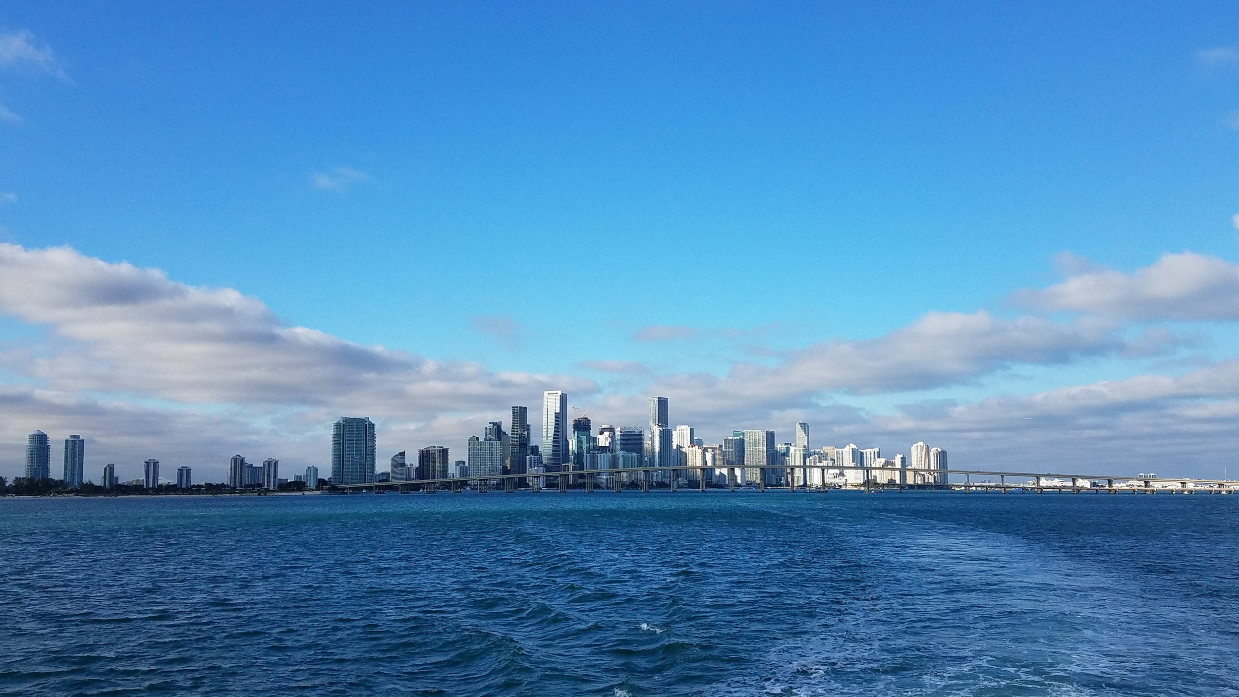 Miami sky line in the distance as we enter Biscayne Bay