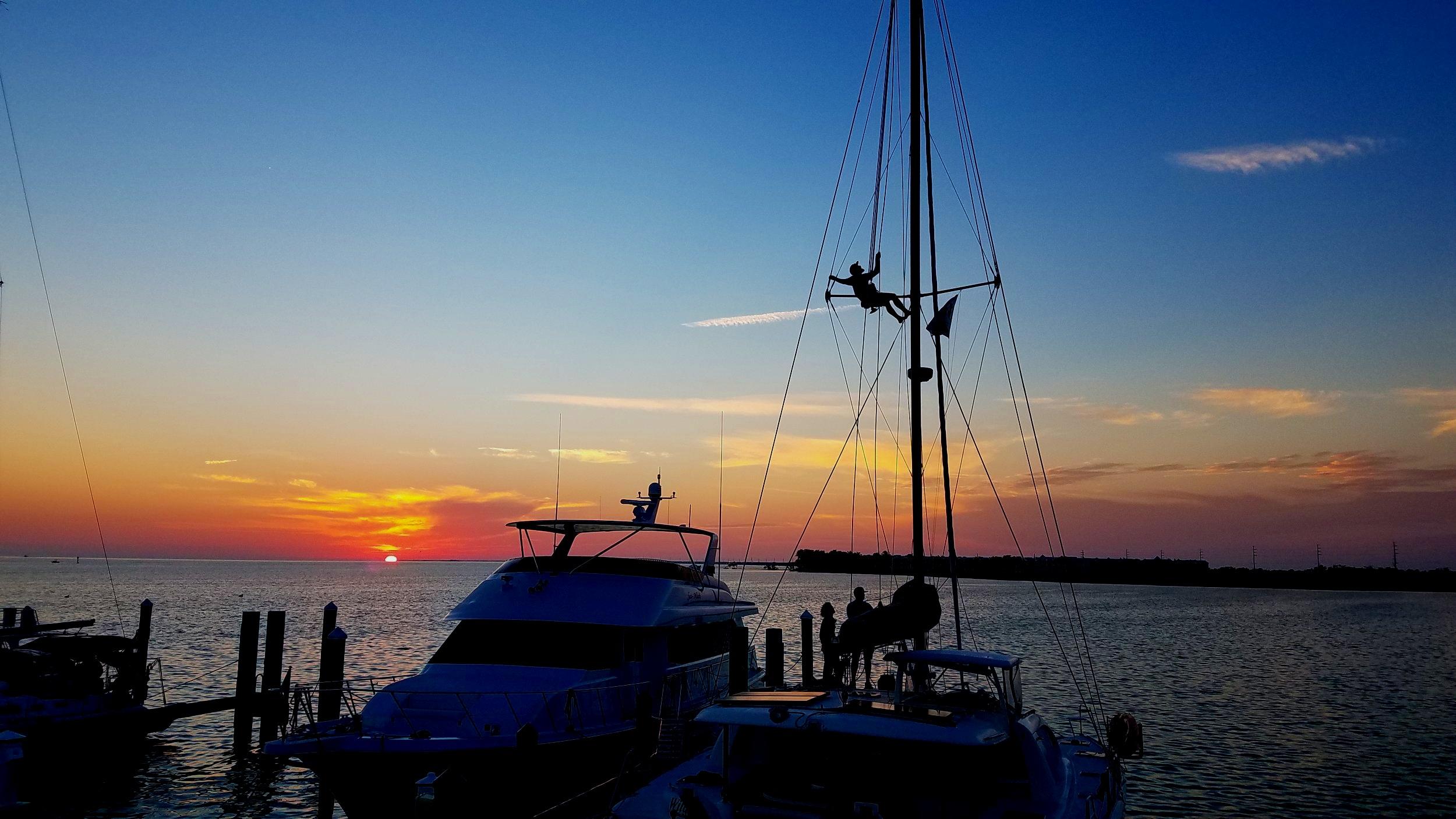 Sunset view from our slip at Marathon Marina, FL