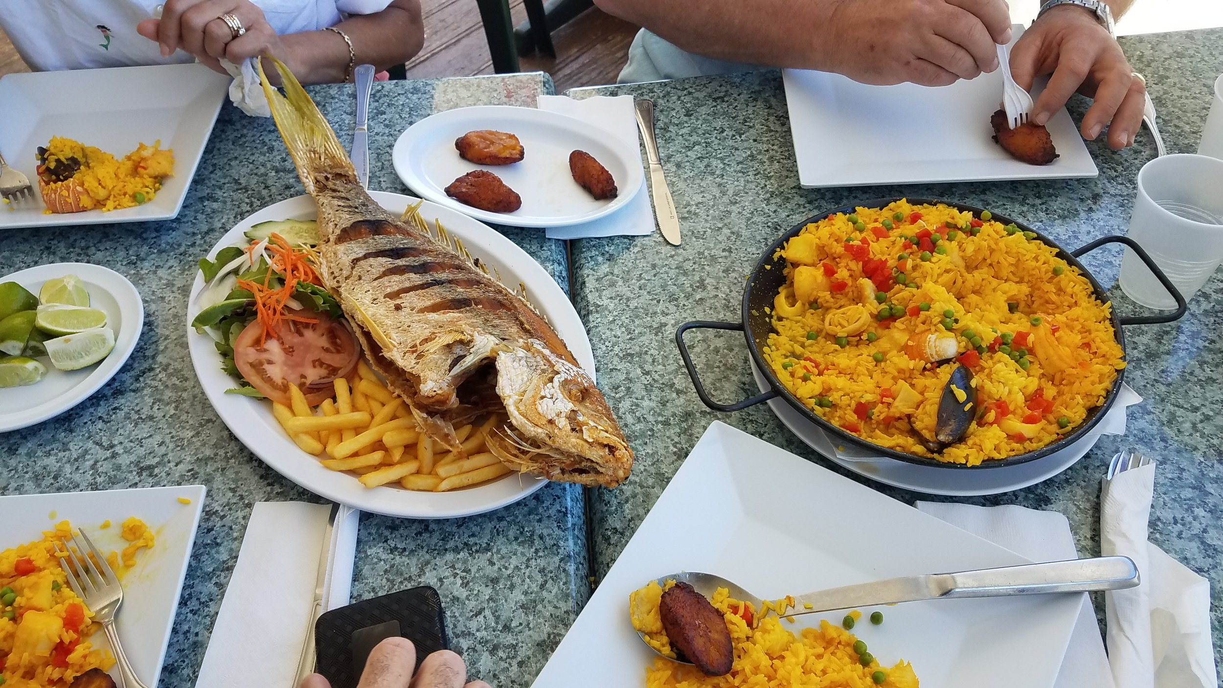 Seafood Paella, Plantains and grilled Snapper at the No Name Harbor Cafe