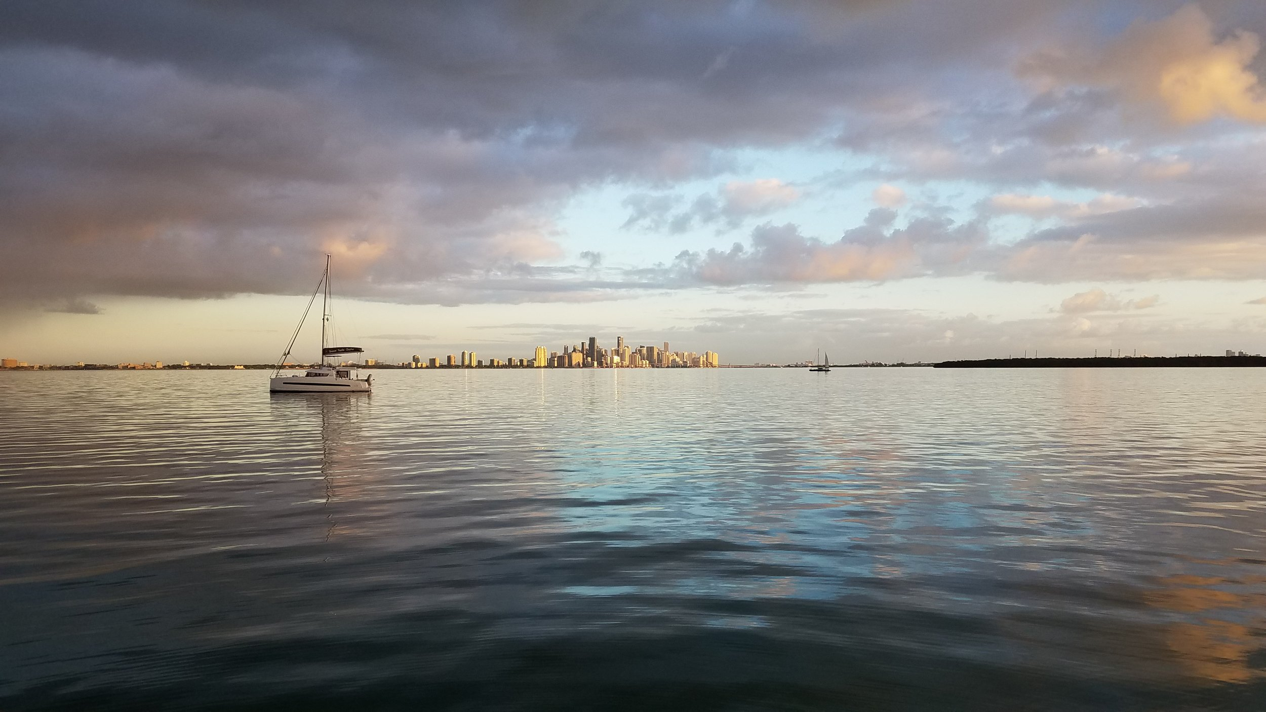 Early morning views of the Miami skyline while anchored in Biscayne Bay after the rain