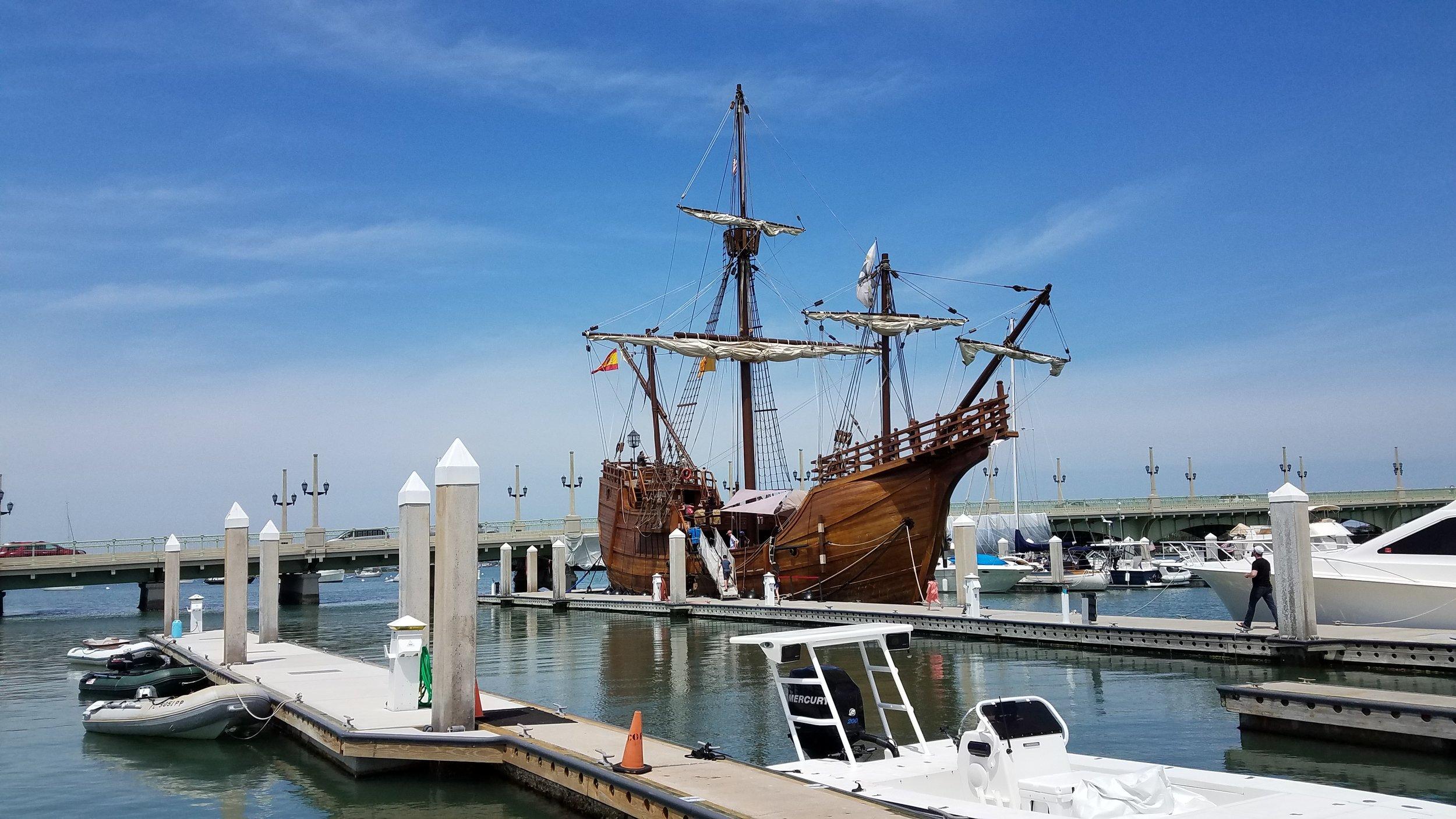 The Nao Santa Maria ( Spanish galleon) at St. Augustine Municipal Marina