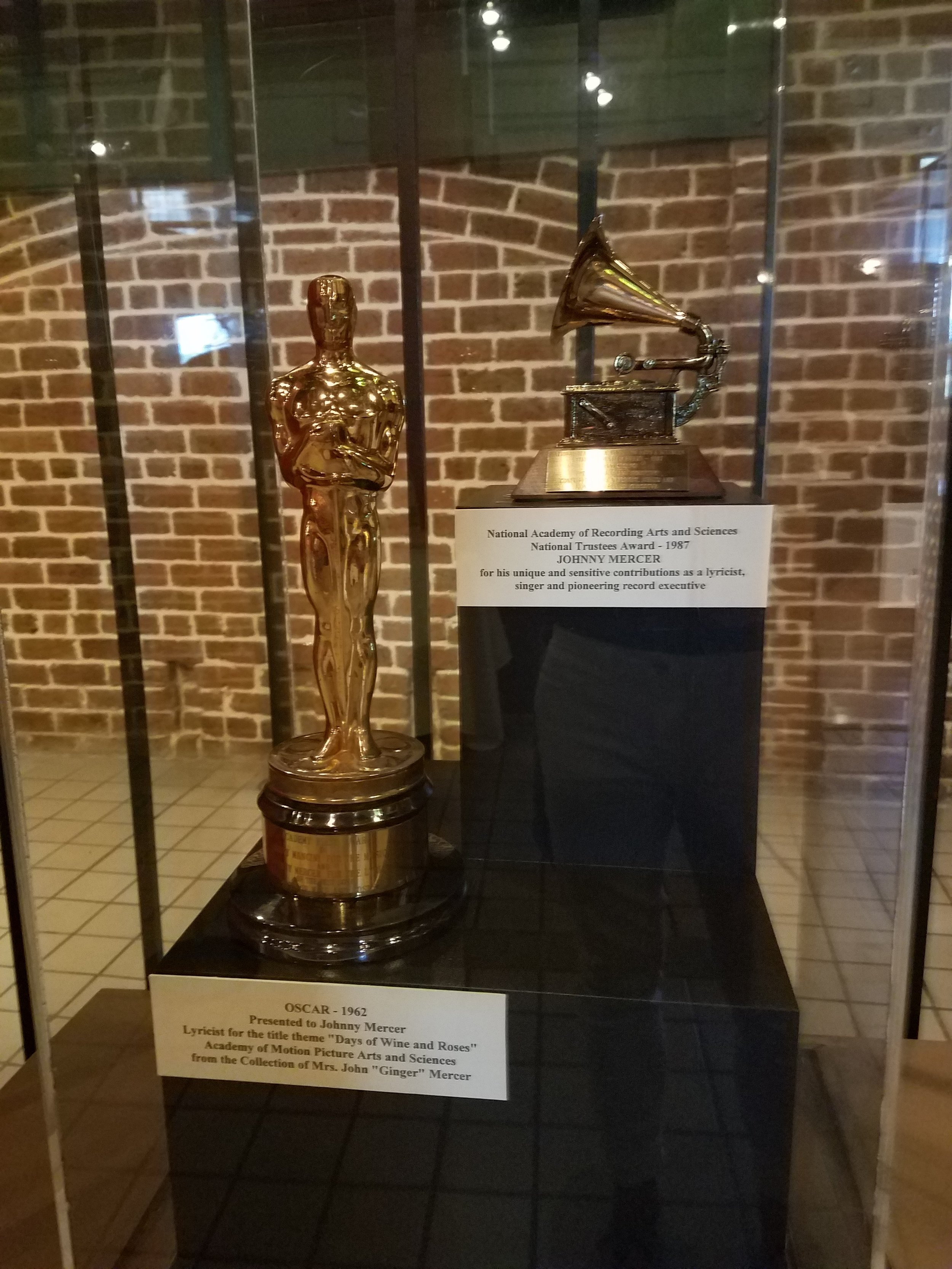 Johnny Mercers' Oscar awards…yes he wrote the Lyrics for Moon River which is a real river we passed on the ICW the next day heading north toward Beaufort, SC