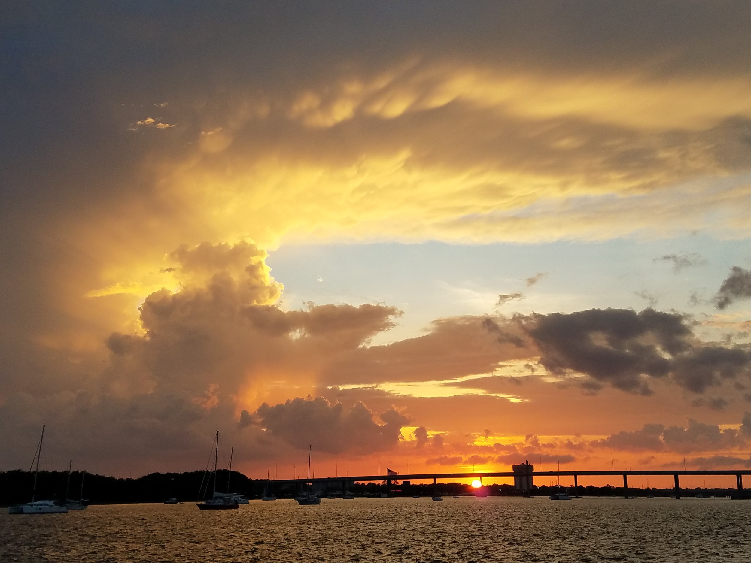 The sunset view from the Independence at the Charleston City Marina