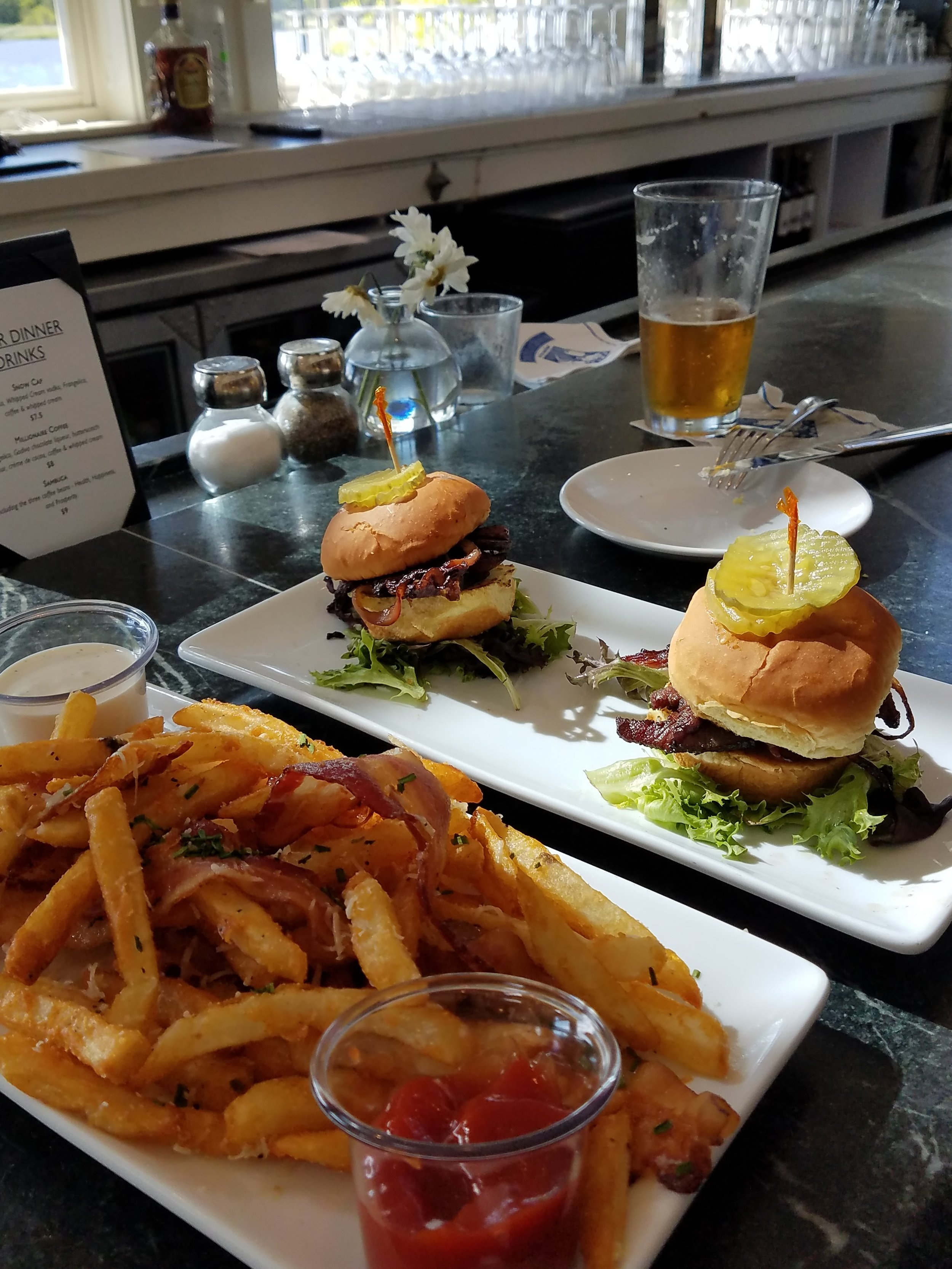 We don't eat much while in transit so this food tasted soooo good. The Pilot House on the Cape Fear River is the place to go for truffle fries and brisket sliders.