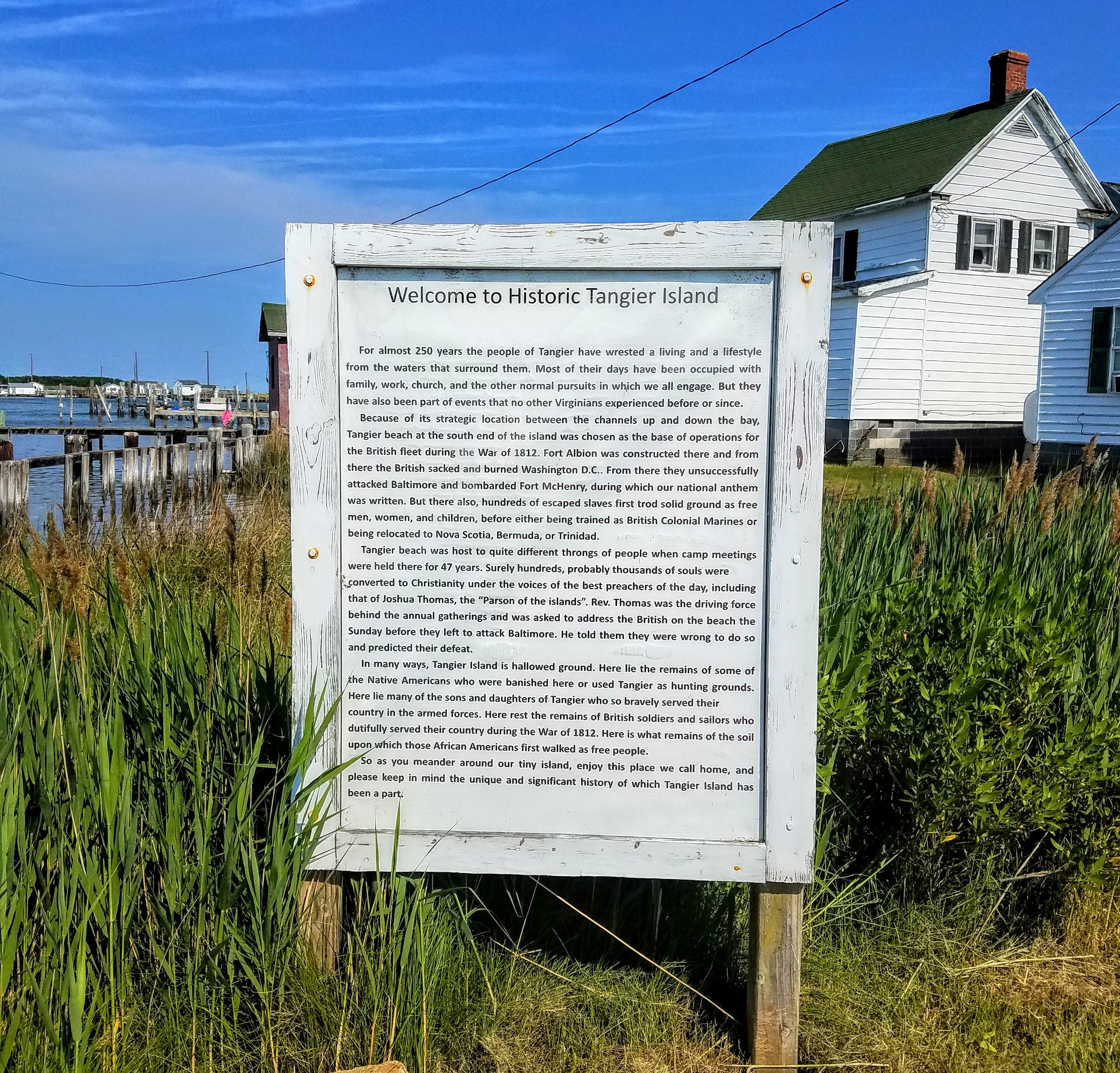 The welcome sign at Tangiers Island