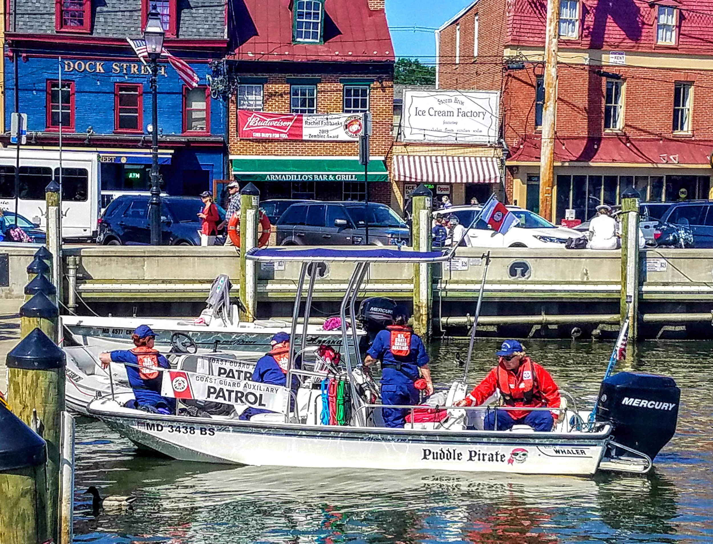 All hands on deck today as the Coast Guard Auxiliary uses their Puddle Pirate to patrol the harbor.