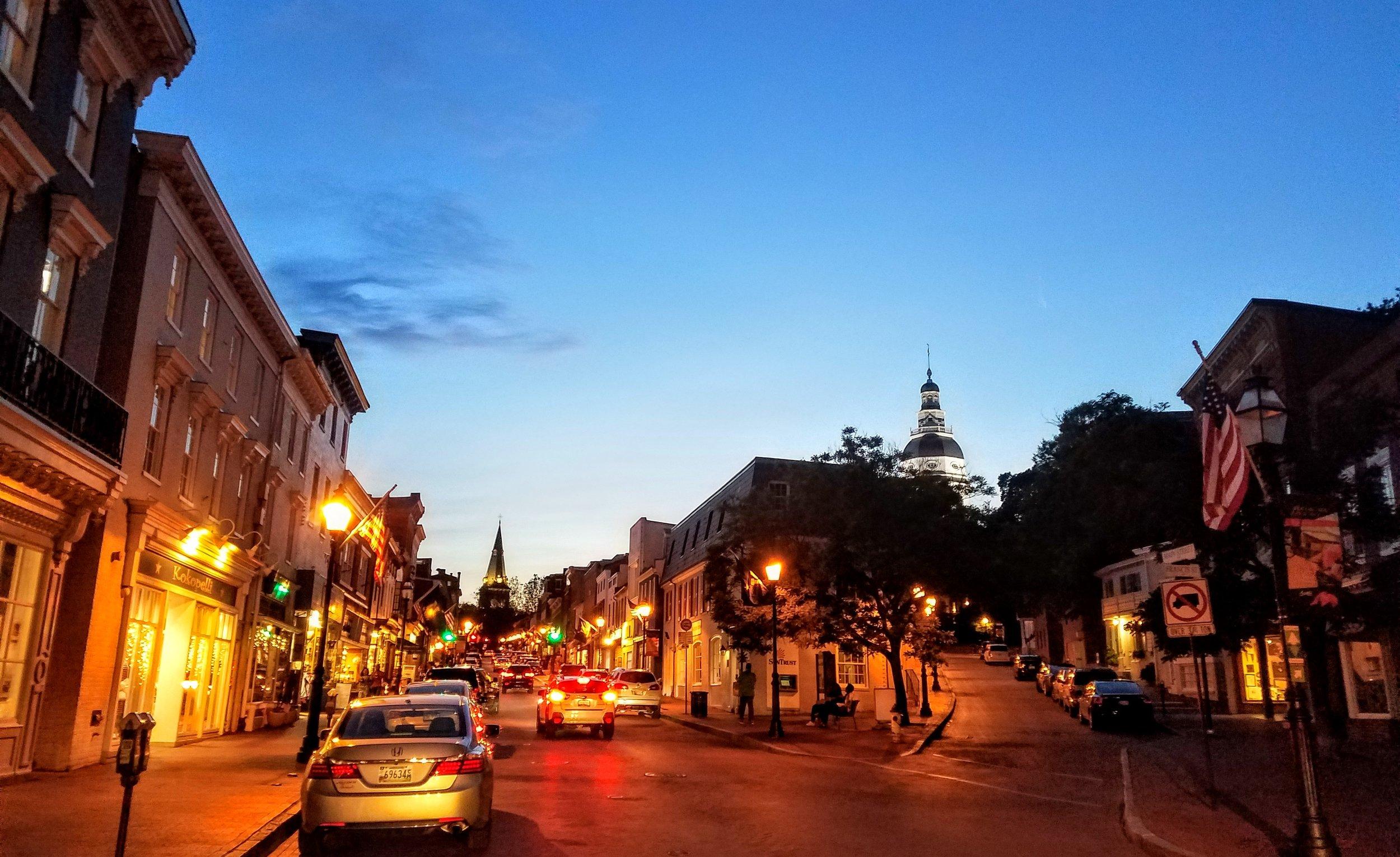 Twilight on Main Street, Annapolis, MD