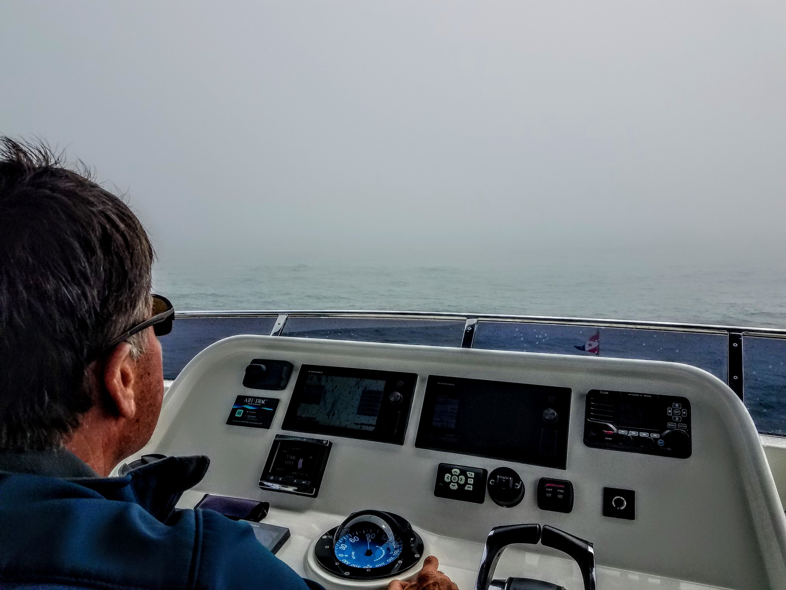 Our first 'down-to-the-deck' fog day. Conditions persisted for most of the day while we transited from Atlantic City, N.J. to the Manasquan River Inlet to Brielle, N.J.