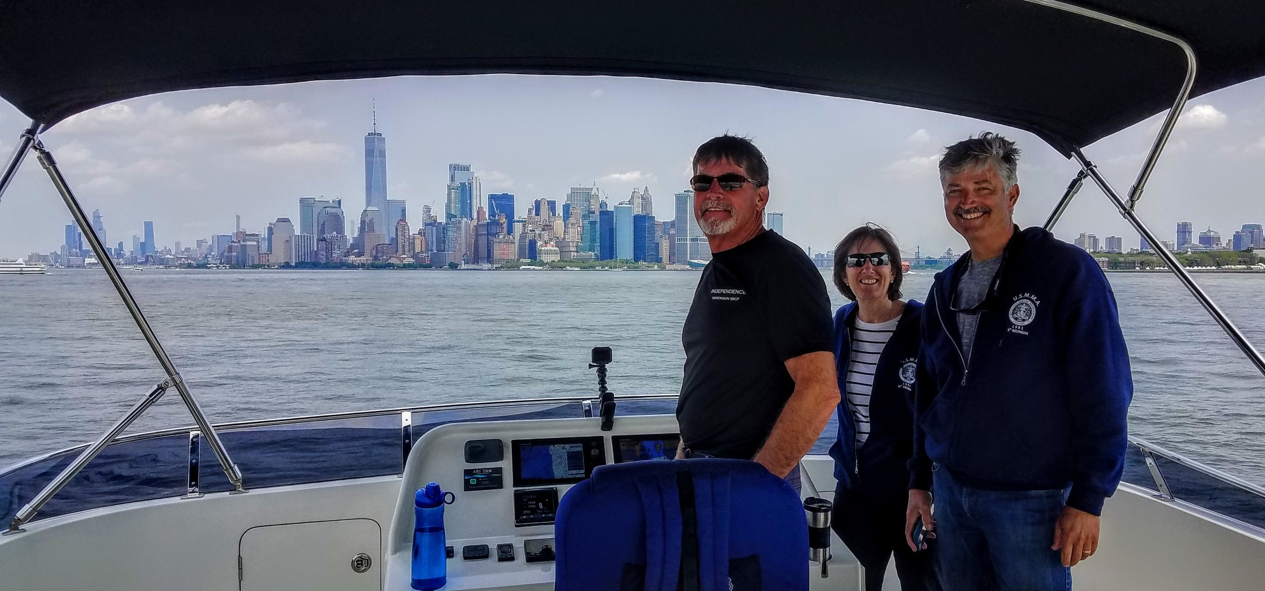 The crew approaching the Manhattan skyline and waterfront