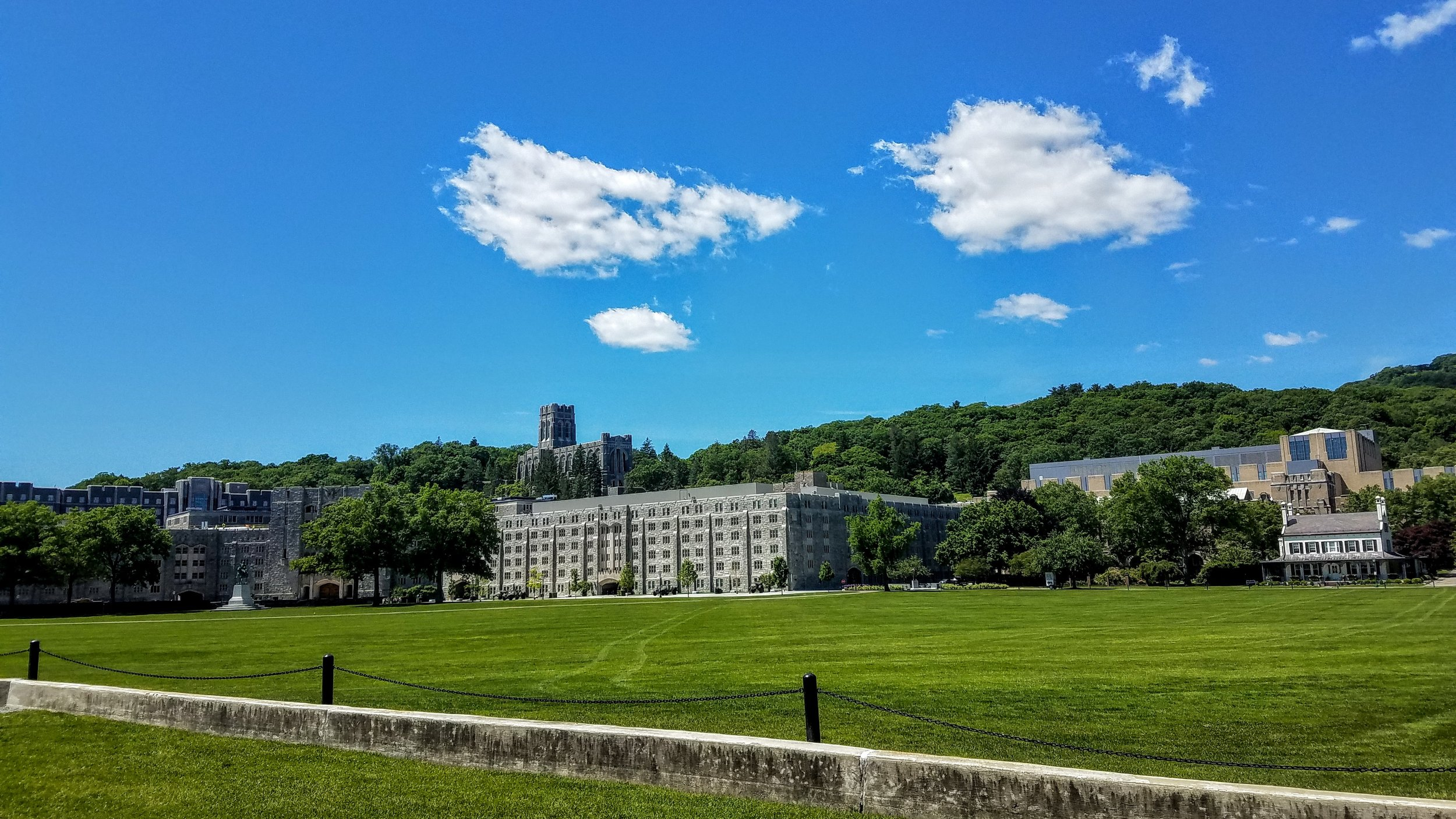 West point campus. The Chapel above, barracks and parade grounds below