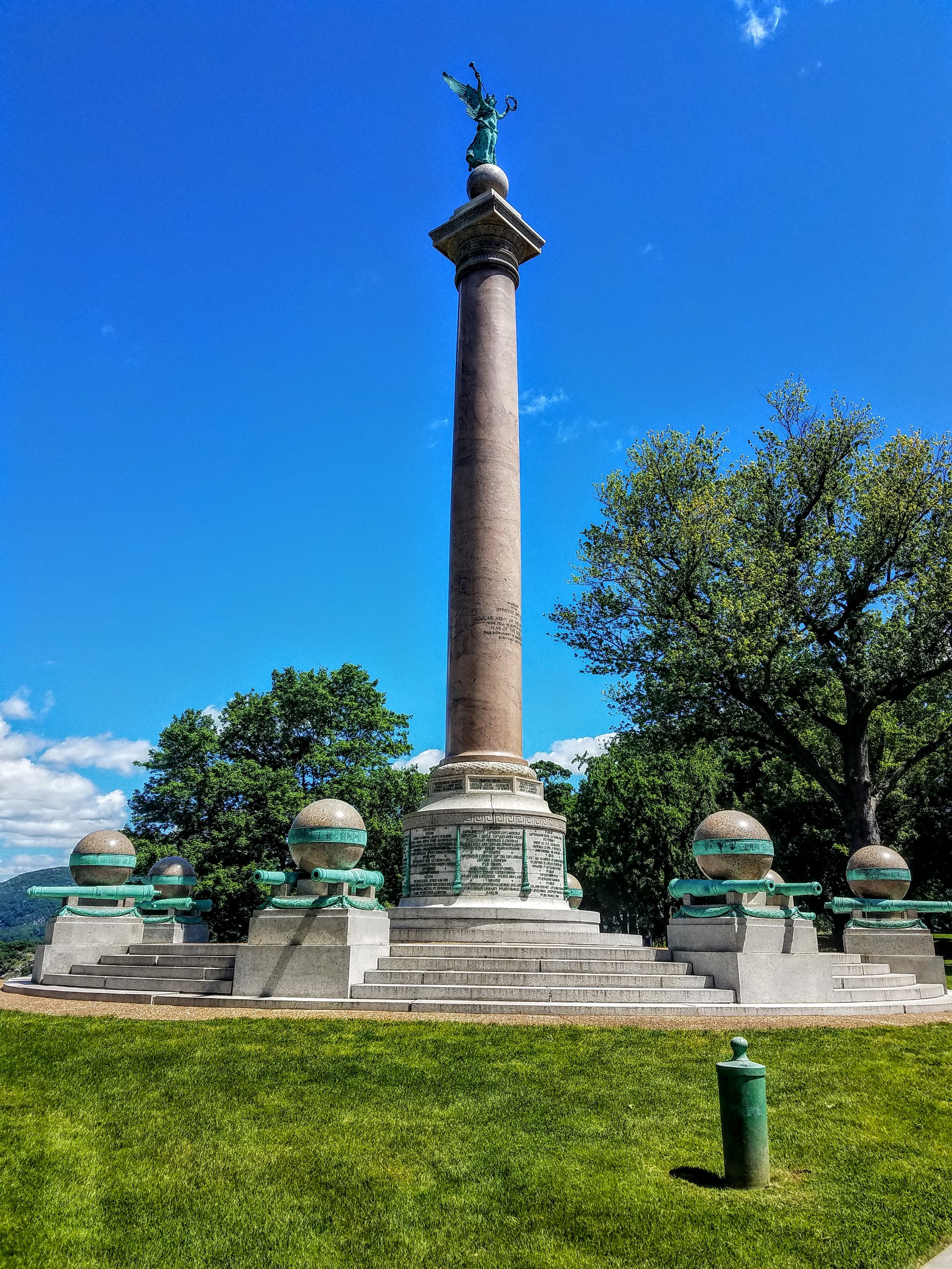 The memorial to the Civil War. When cadets graduated from the academy they went on to protect the North or the South. Eventually having to fight their fellow class mate. The cannons around the perimeter of this memorial are placed muzzle down to signify a hopeful end to ever having this take place again.