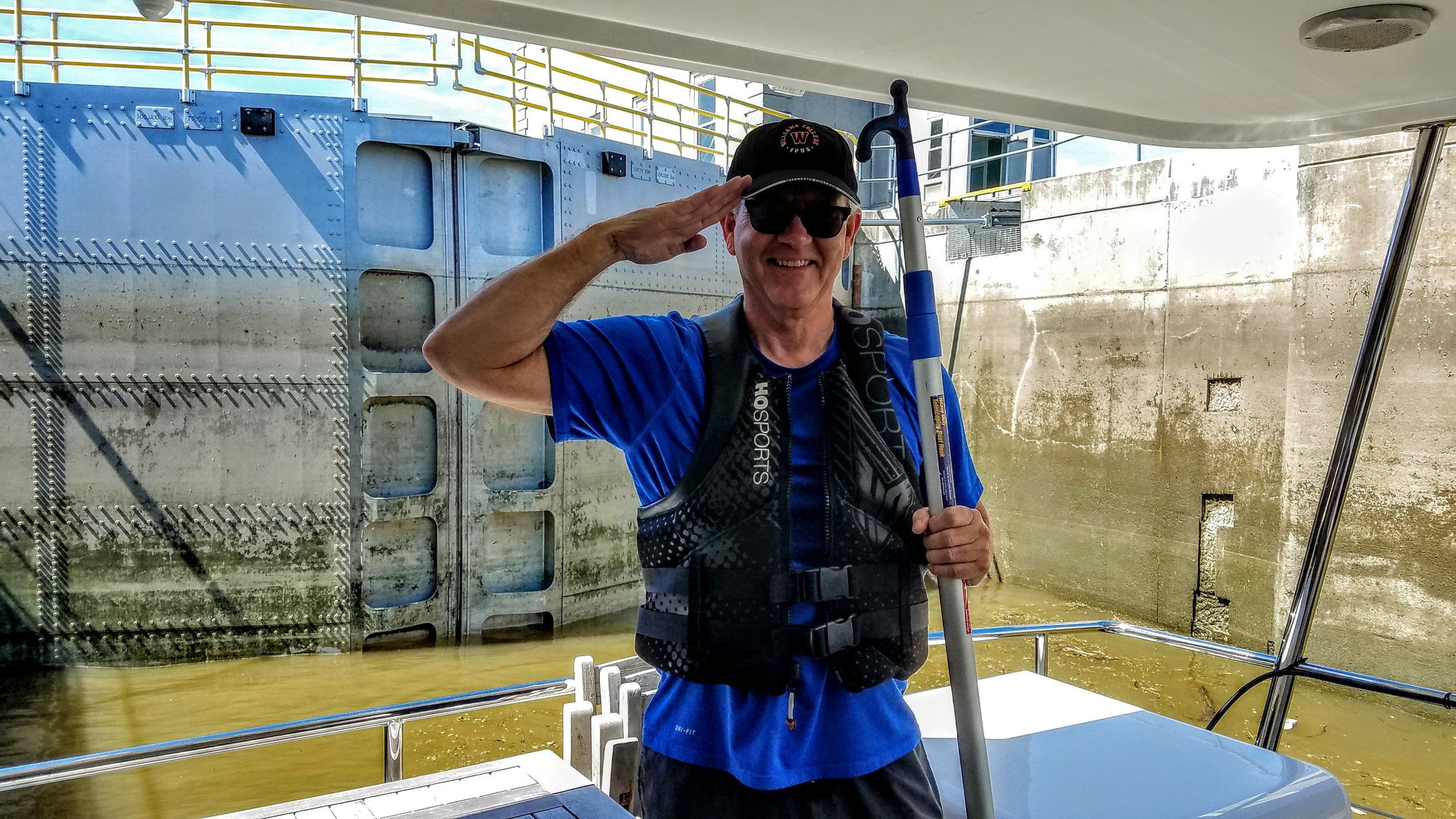 Jim Lennon ready for duty at the Troy Lock…doors closed means water level is rising