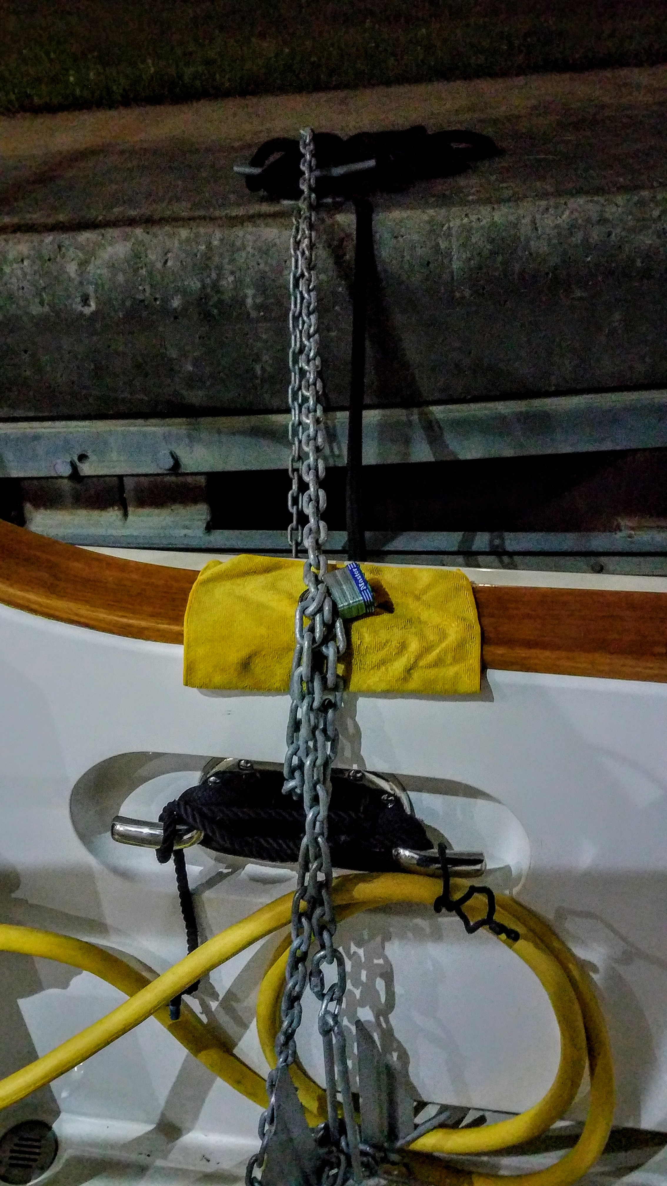 Actually had to lock up the boat tonight. We used the anchor chain from the tender and a pad lock…good grief!