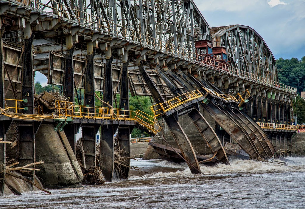 The damage to Lock 11 (above Amsterdam) by Hurricane Irene in 2011. Photo courtesy of Google