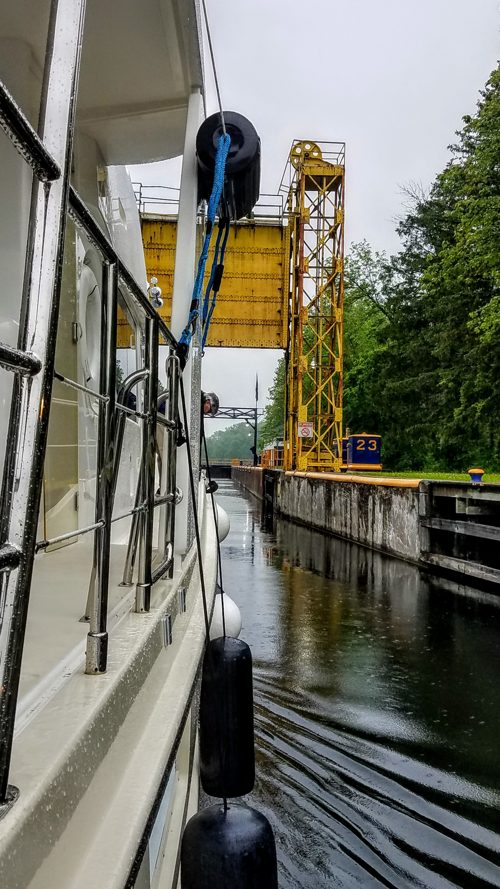 Entering the last lock of the Erie Canal…lock 23