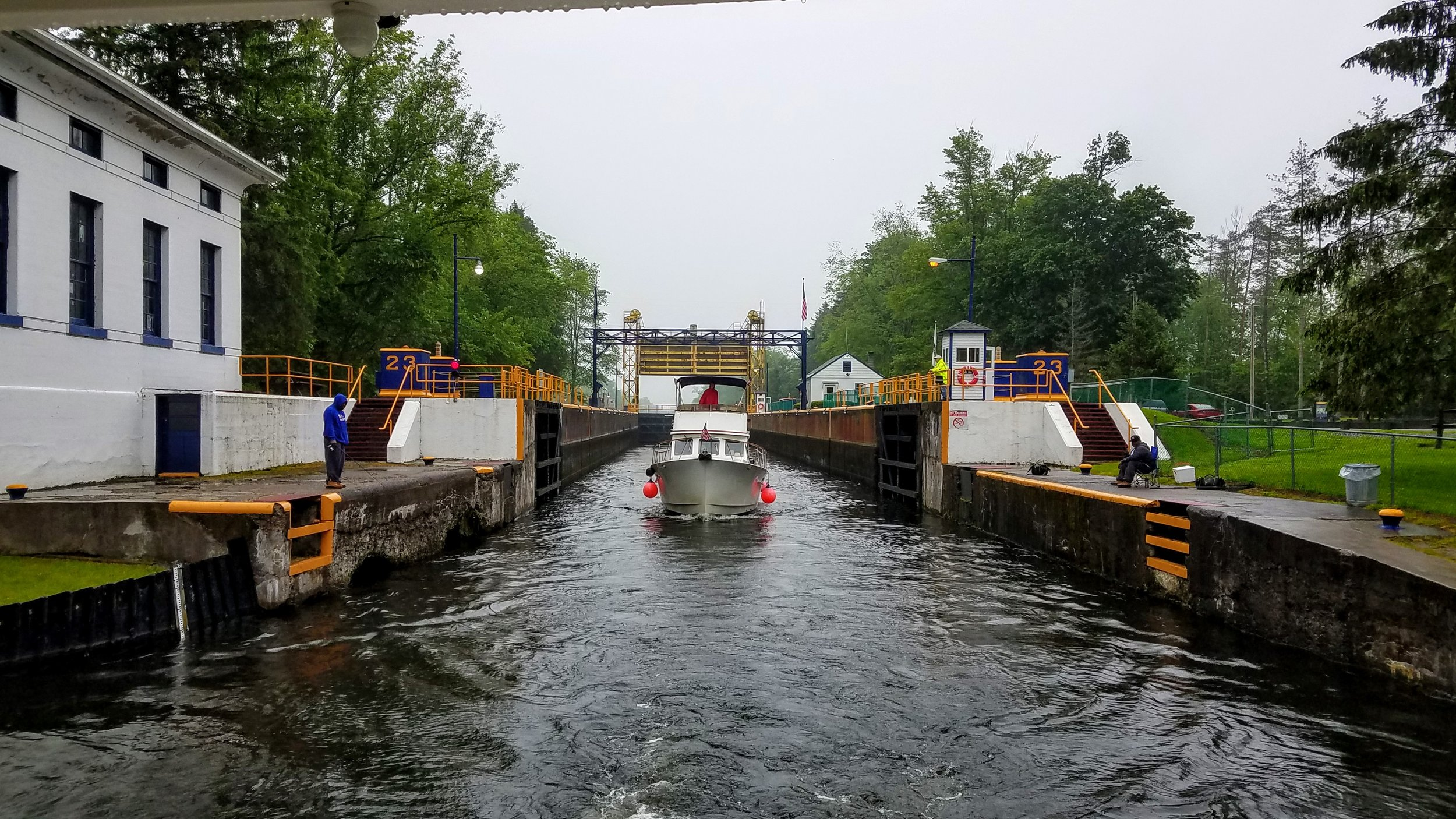 Departing lock 23. We were trailed today by this boat named 'Comet'
